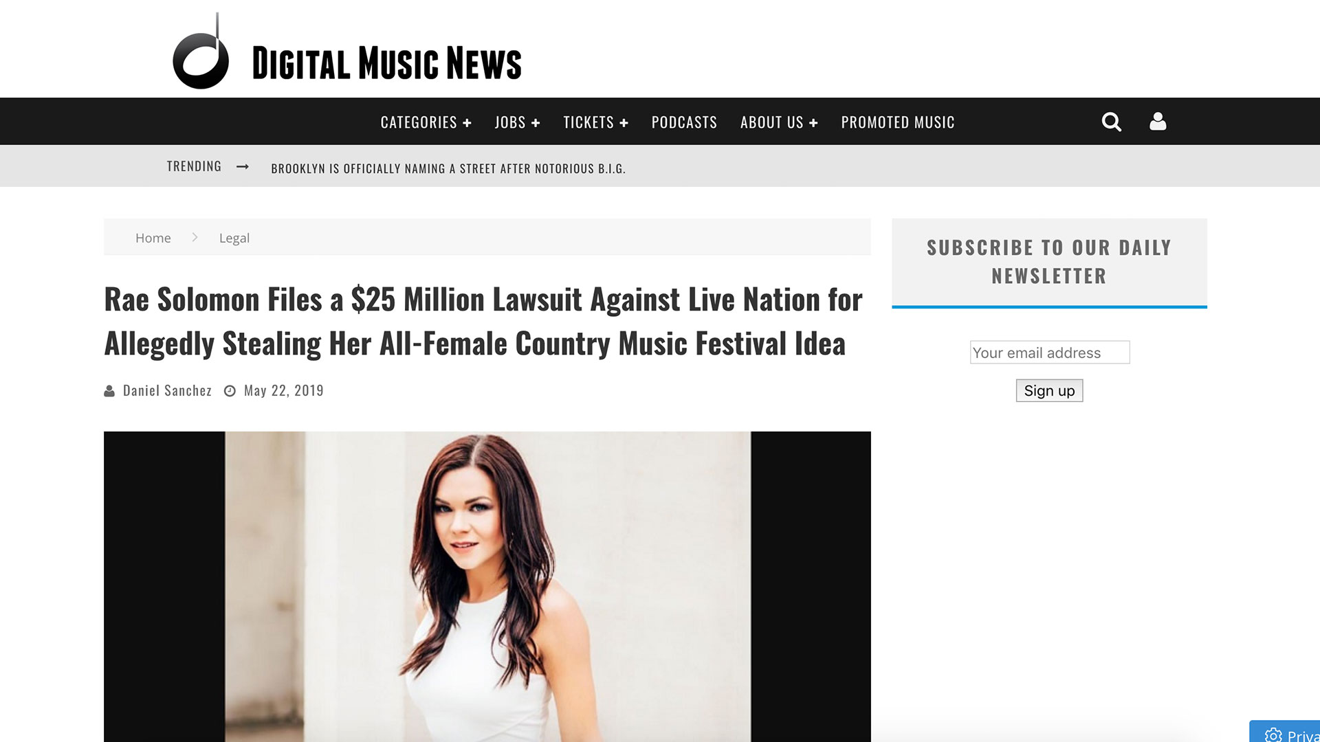 Fairness Rocks News Rae Solomon Files a $25 Million Lawsuit Against Live Nation for Allegedly Stealing Her All-Female Country Music Festival Idea