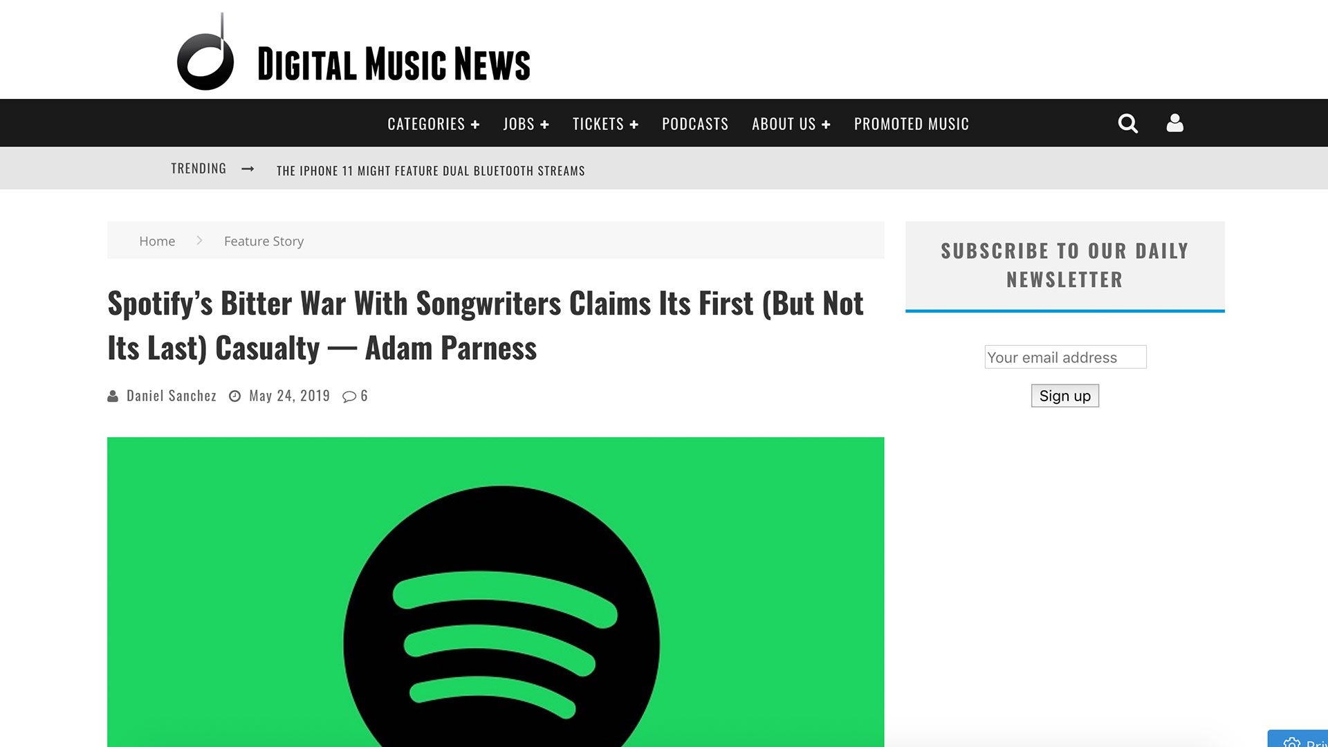 Fairness Rocks News Spotify's Bitter War With Songwriters Claims Its First (But Not Its Last) Casualty — Adam Parness