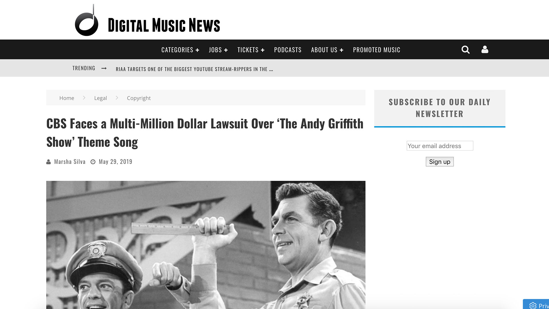 Fairness Rocks News CBS Faces a Multi-Million Dollar Lawsuit Over 'The Andy Griffith Show' Theme Song