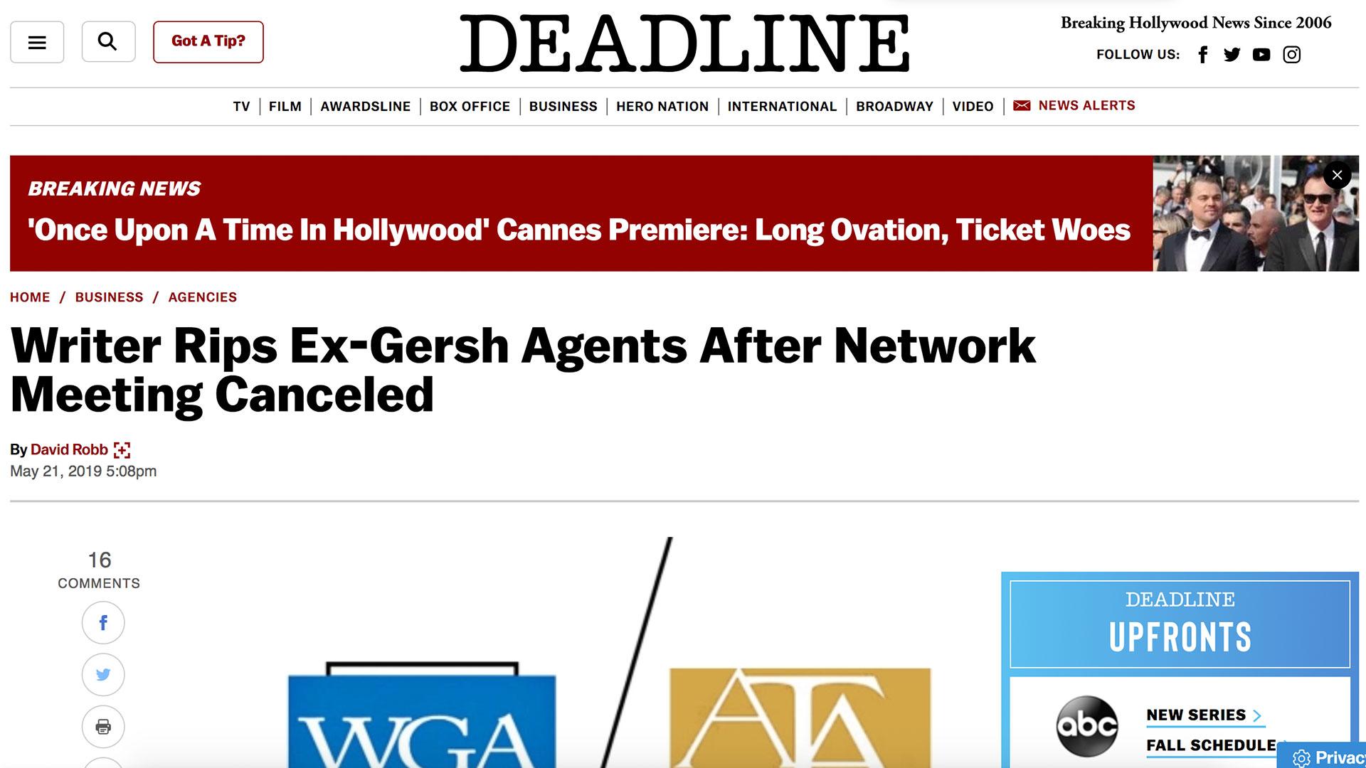 Fairness Rocks News Writer Rips Ex-Gersh Agents After Network Meeting Canceled