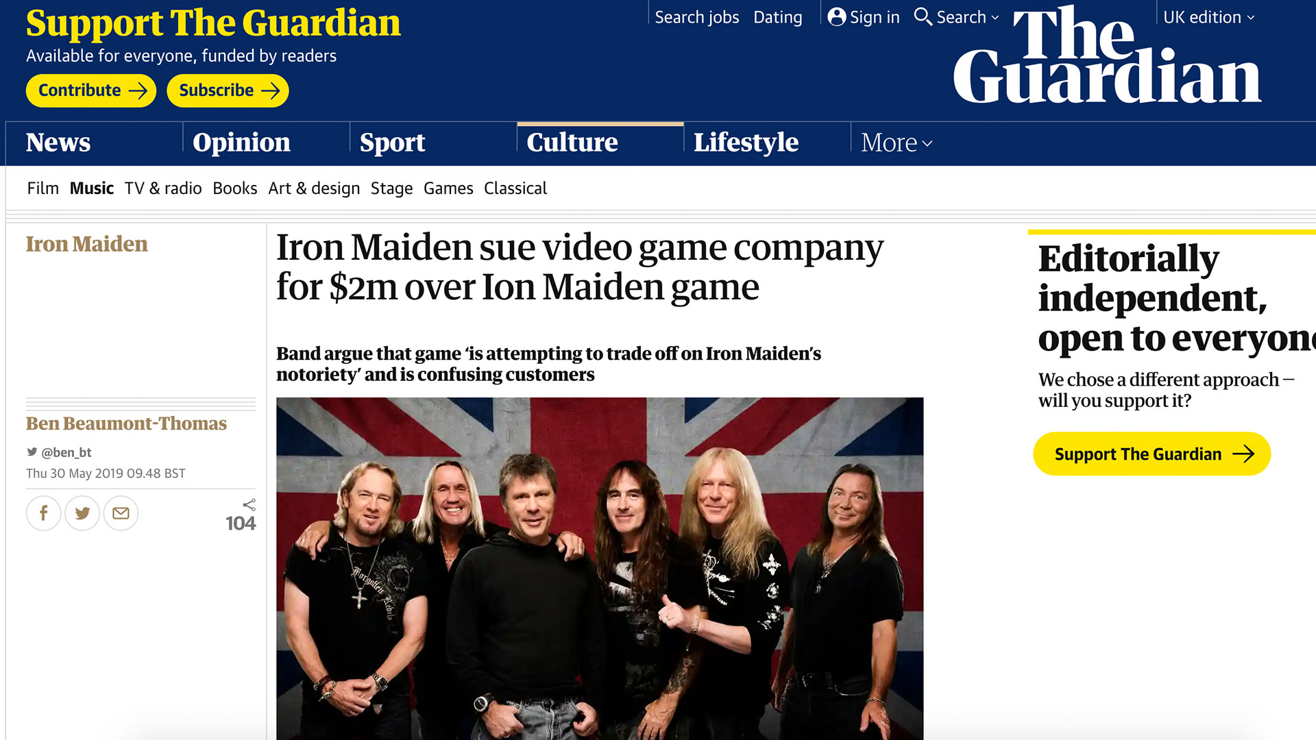 Fairness Rocks News Iron Maiden sue video game company for $2m over Ion Maiden game