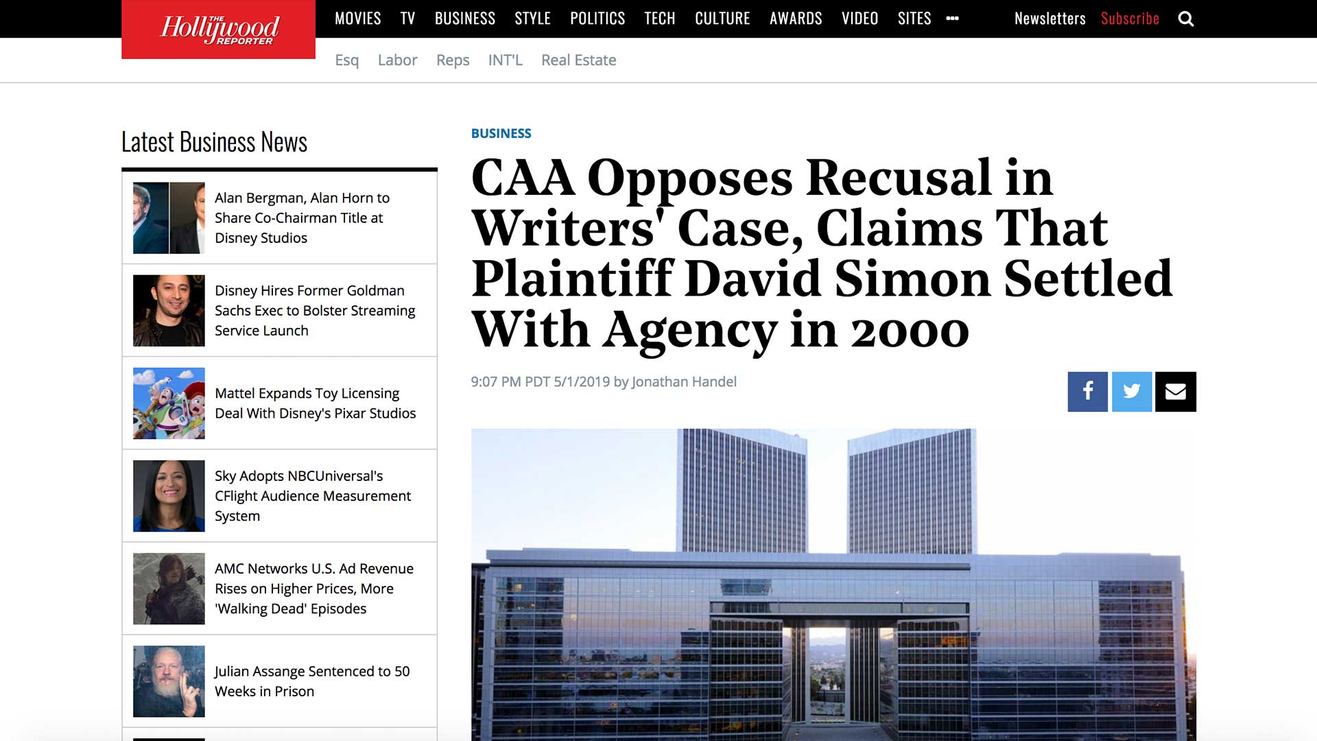 Fairness Rocks News CAA Opposes Recusal in Writers' Case, Claims That Plaintiff David Simon Settled With Agency in 2000