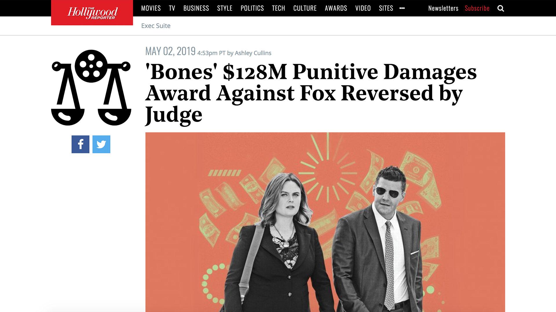 Fairness Rocks News 'Bones' $128M Punitive Damages Award Against Fox Reversed by Judge
