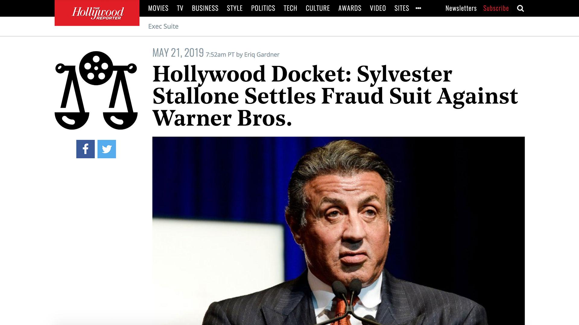 Fairness Rocks News Hollywood Docket: Sylvester Stallone Settles Fraud Suit Against Warner Bros.
