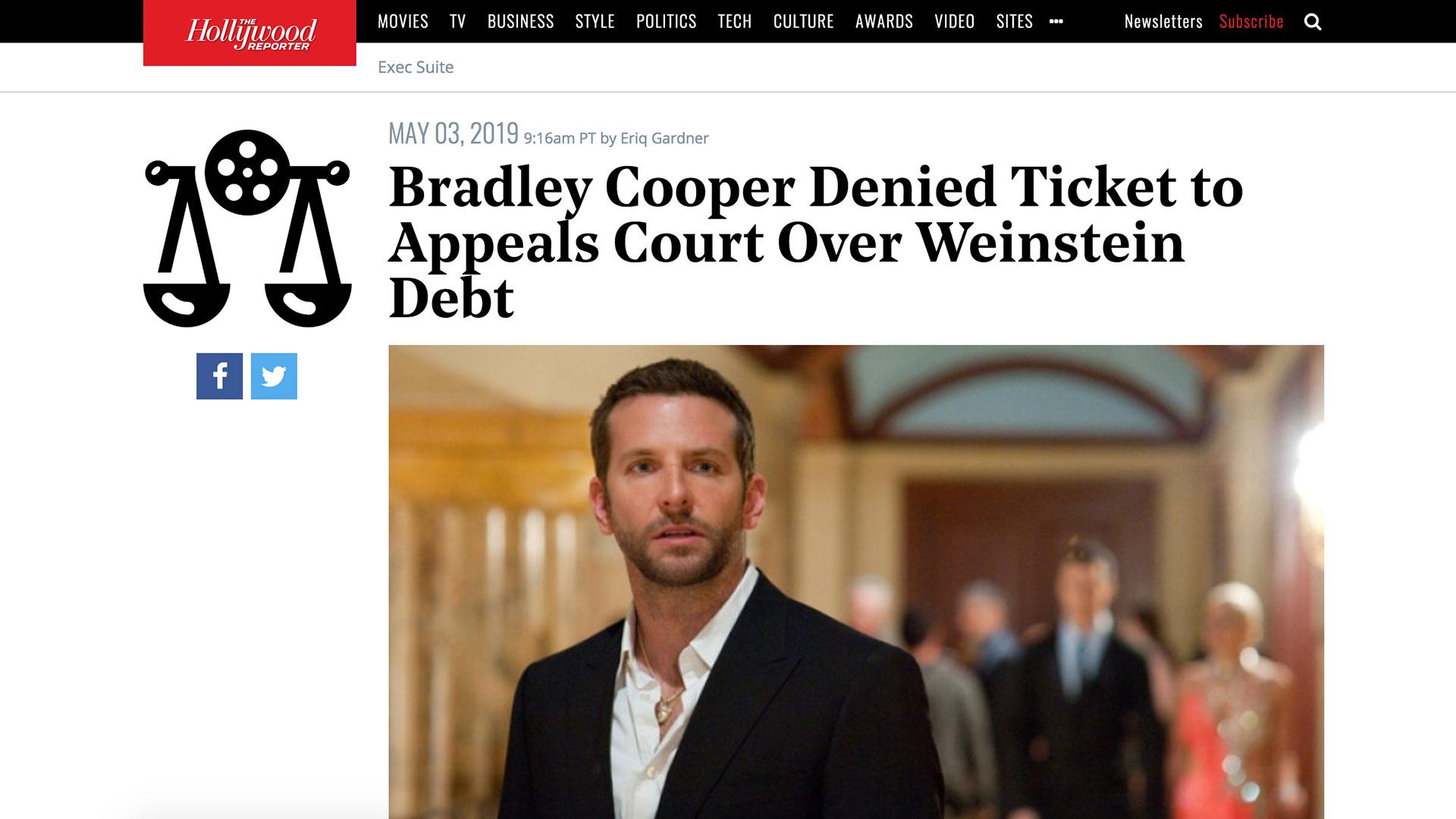 Fairness Rocks News Bradley Cooper Denied Ticket to Appeals Court Over Weinstein Debt