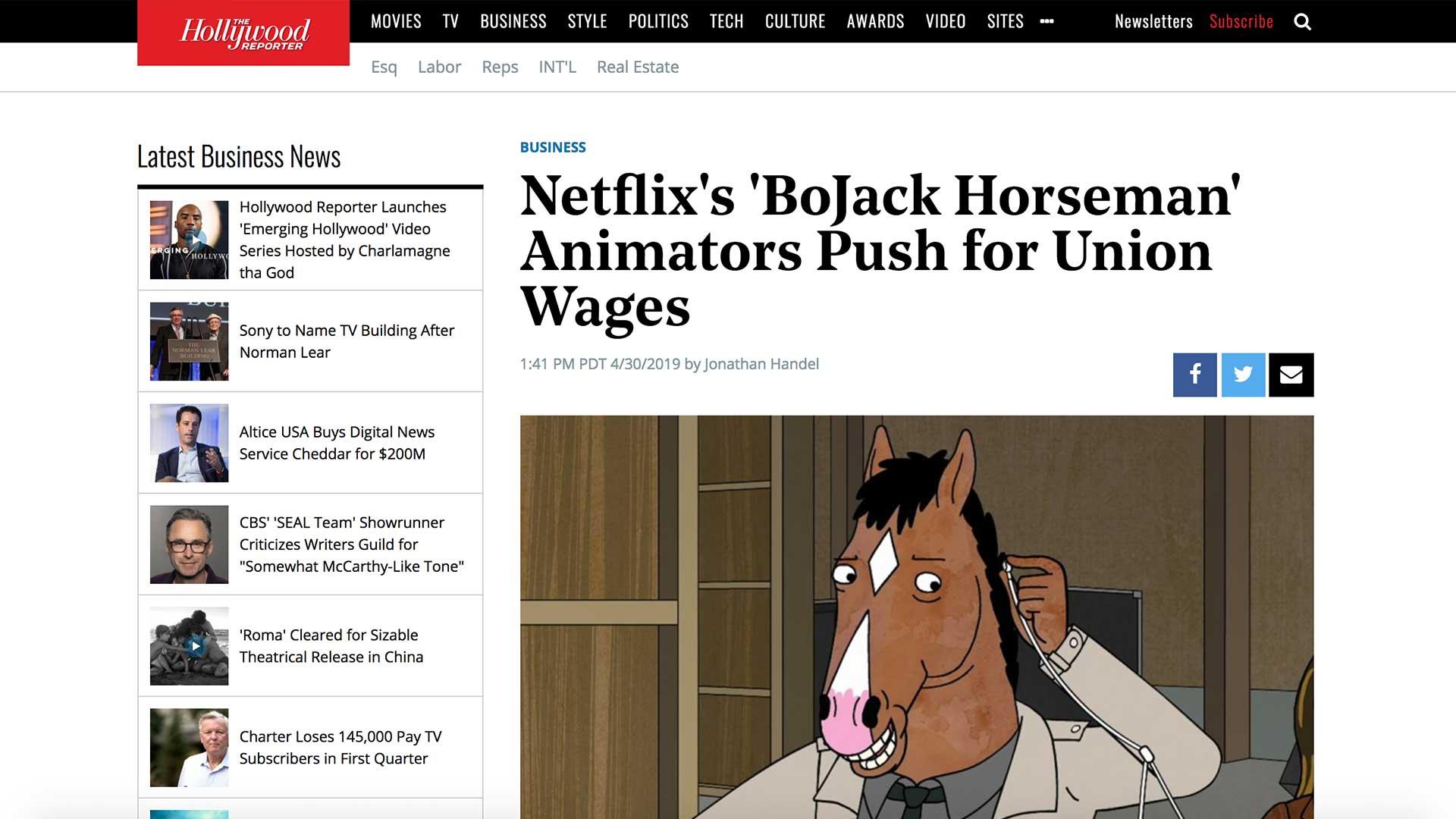 Fairness Rocks News Netflix's 'BoJack Horseman' Animators Push for Union Wages