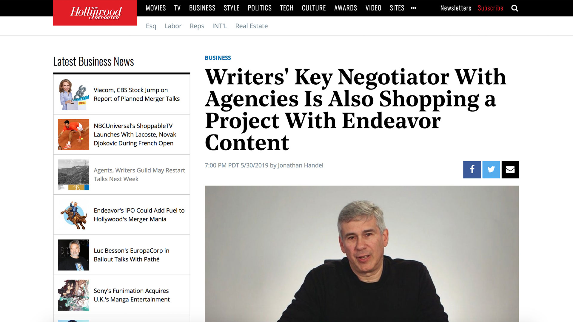 Fairness Rocks News Writers' Key Negotiator With Agencies Is Also Shopping a Project With Endeavor Content