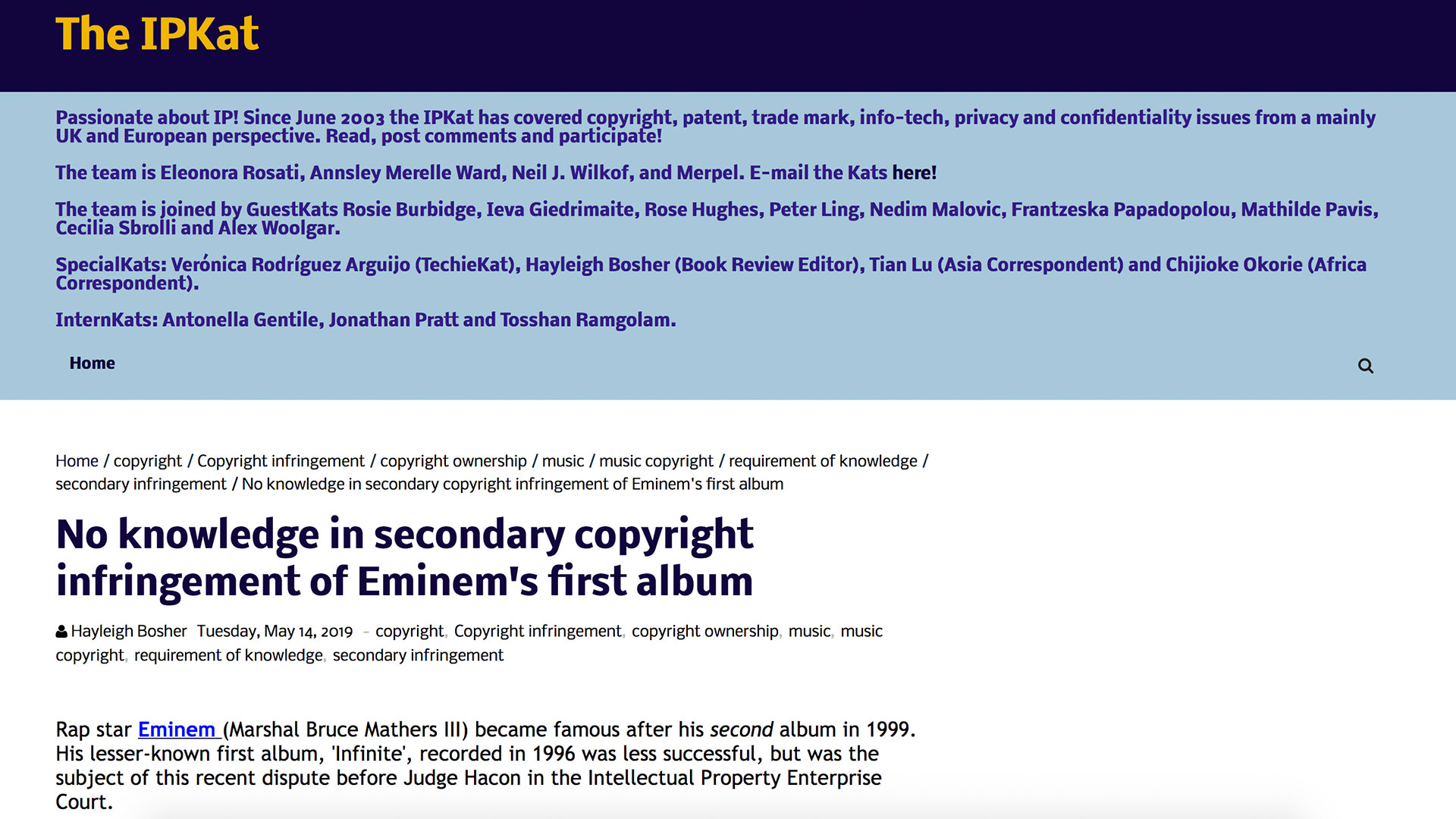 Fairness Rocks News No knowledge in secondary copyright infringement of Eminem's first album