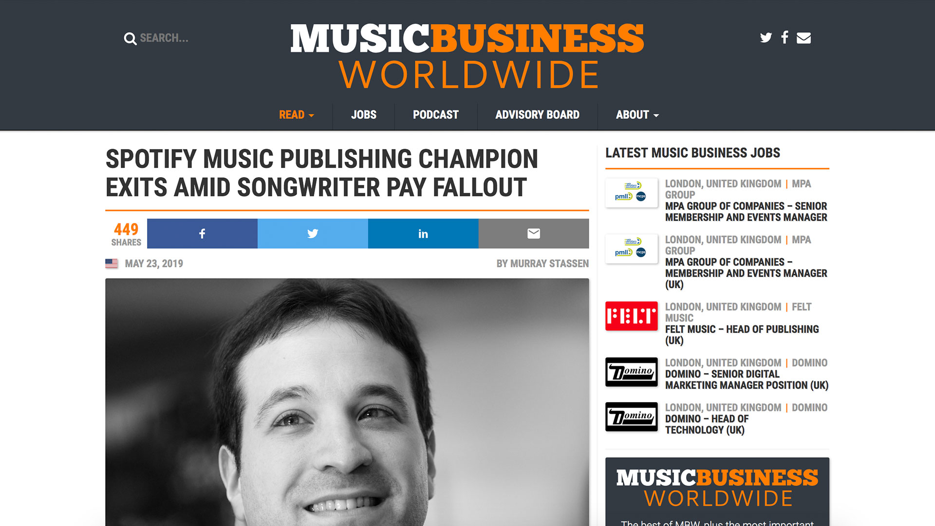 Fairness Rocks News SPOTIFY MUSIC PUBLISHING CHAMPION EXITS AMID SONGWRITER PAY FALLOUT