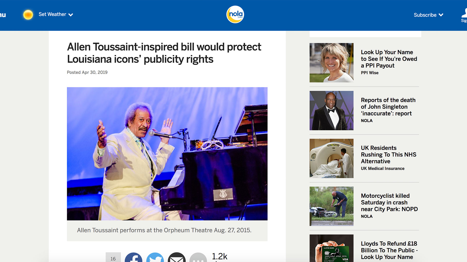 Fairness Rocks News Allen Toussaint-inspired bill would protect Louisiana icons' publicity rights