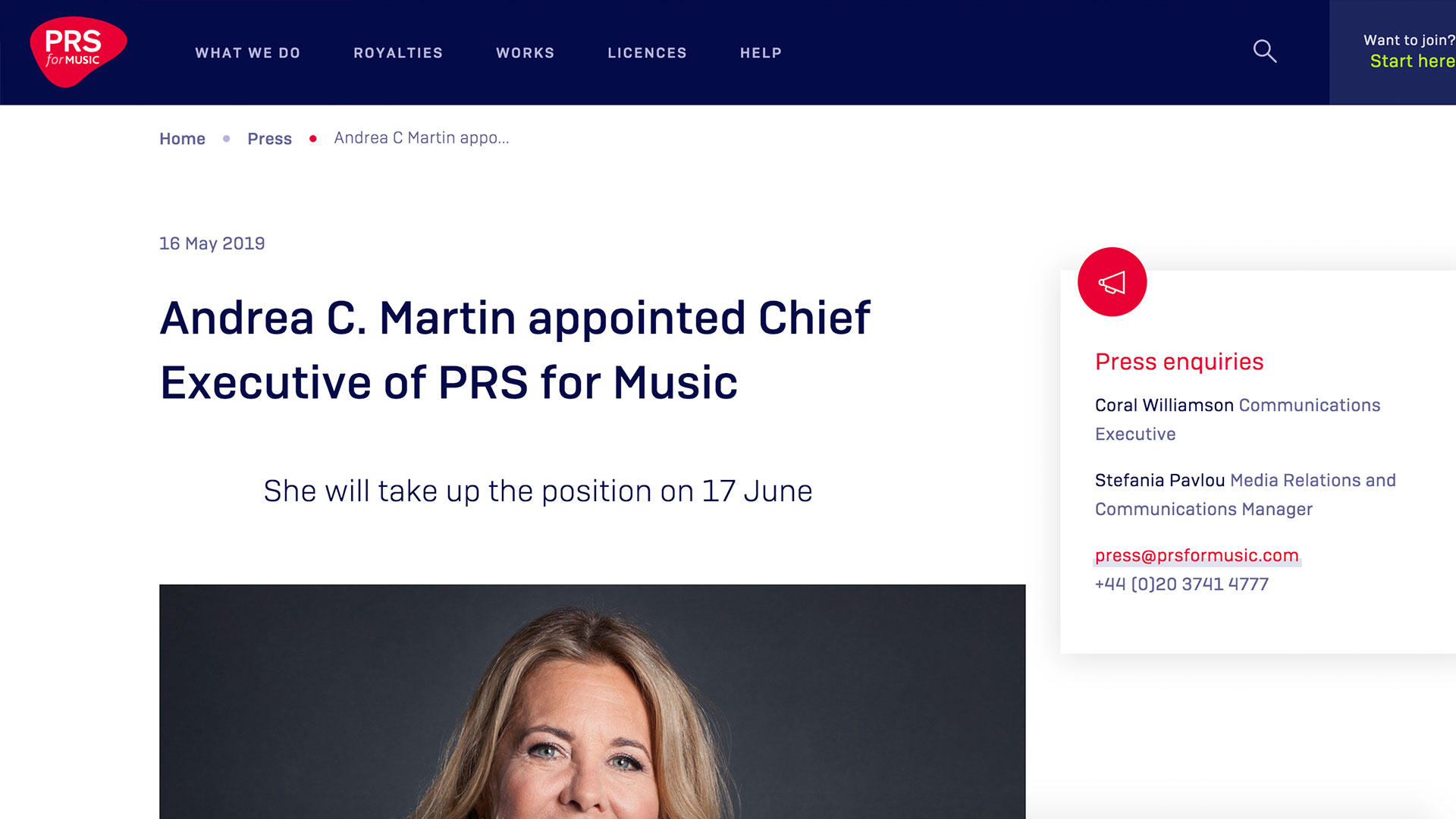 Fairness Rocks News Andrea C. Martin appointed Chief Executive of PRS for Music