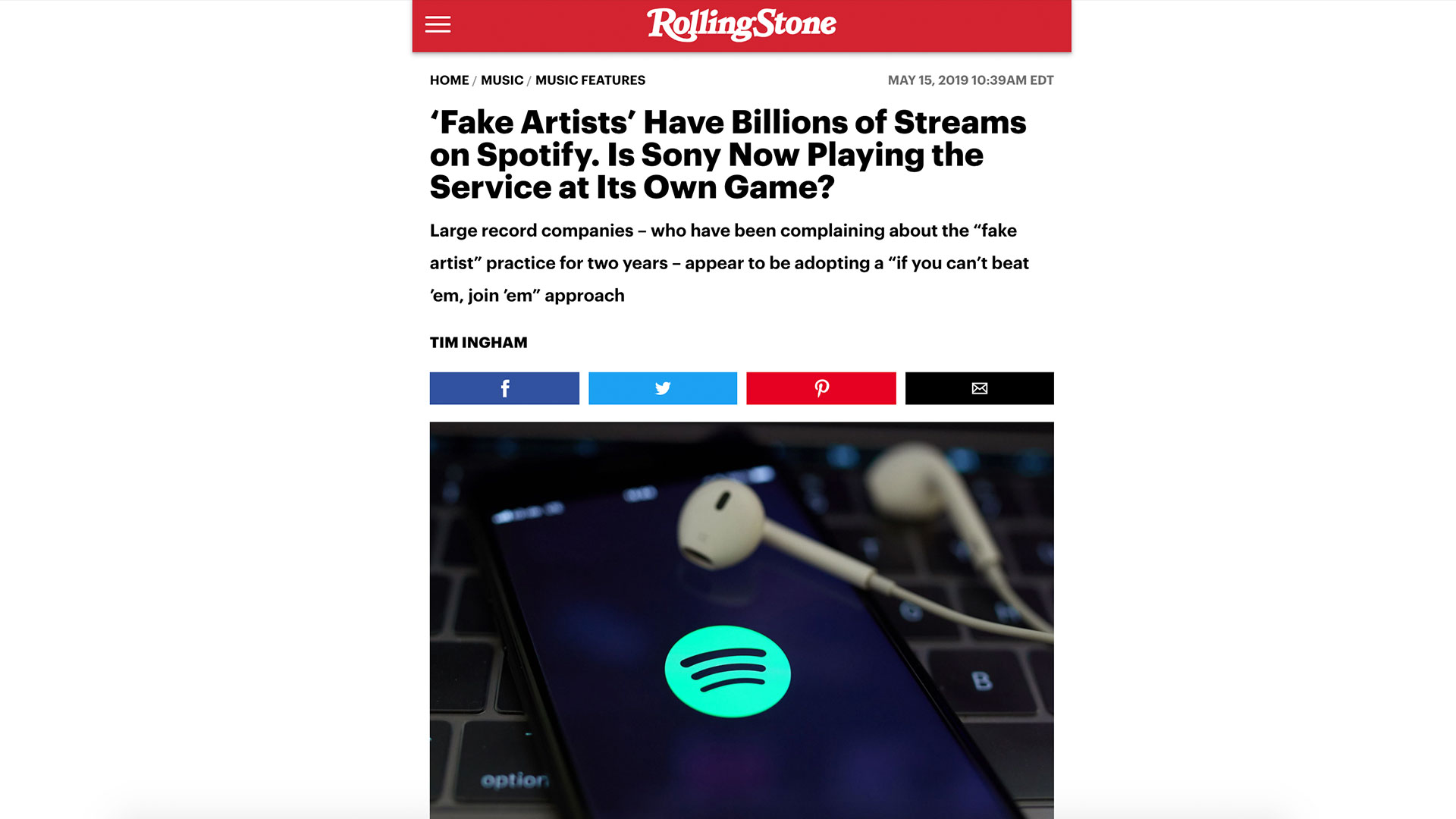 Fairness Rocks News 'Fake Artists' Have Billions of Streams on Spotify. Is Sony Now Playing the Service at Its Own Game?