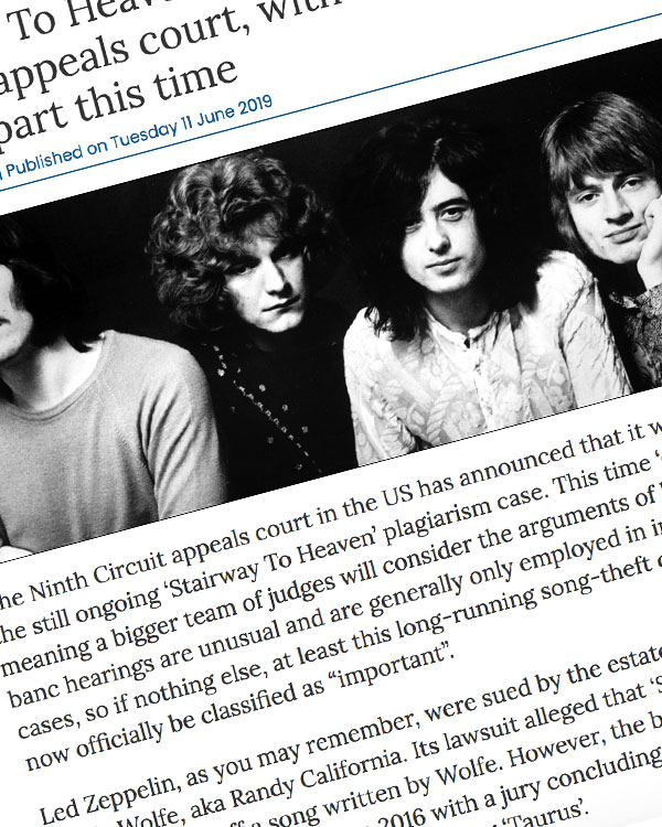 Fairness Rocks News Stairway To Heaven case to return to Ninth Circuit appeals court, with more judges taking part this time