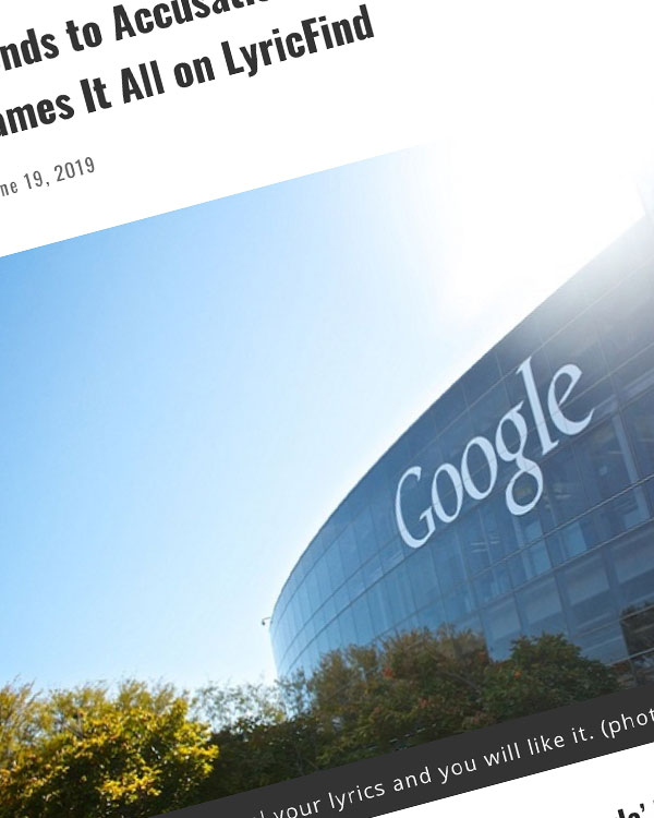 Fairness Rocks News Google Responds to Accusations of Plagiarizing Lyrics — And Basically Blames It All on LyricFind