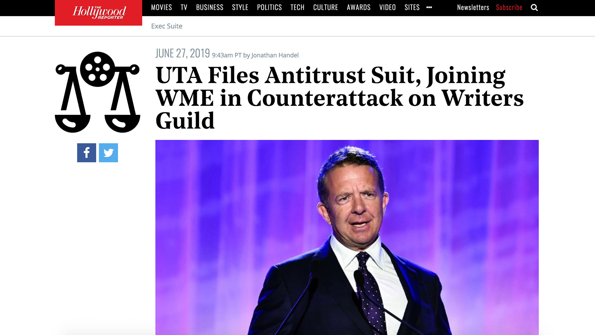 Fairness Rocks News UTA Files Antitrust Suit, Joining WME in Counterattack on Writers Guild