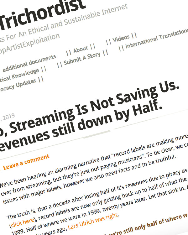 Fairness Rocks News No, Streaming Is Not Saving Us. Revenues still down by Half.