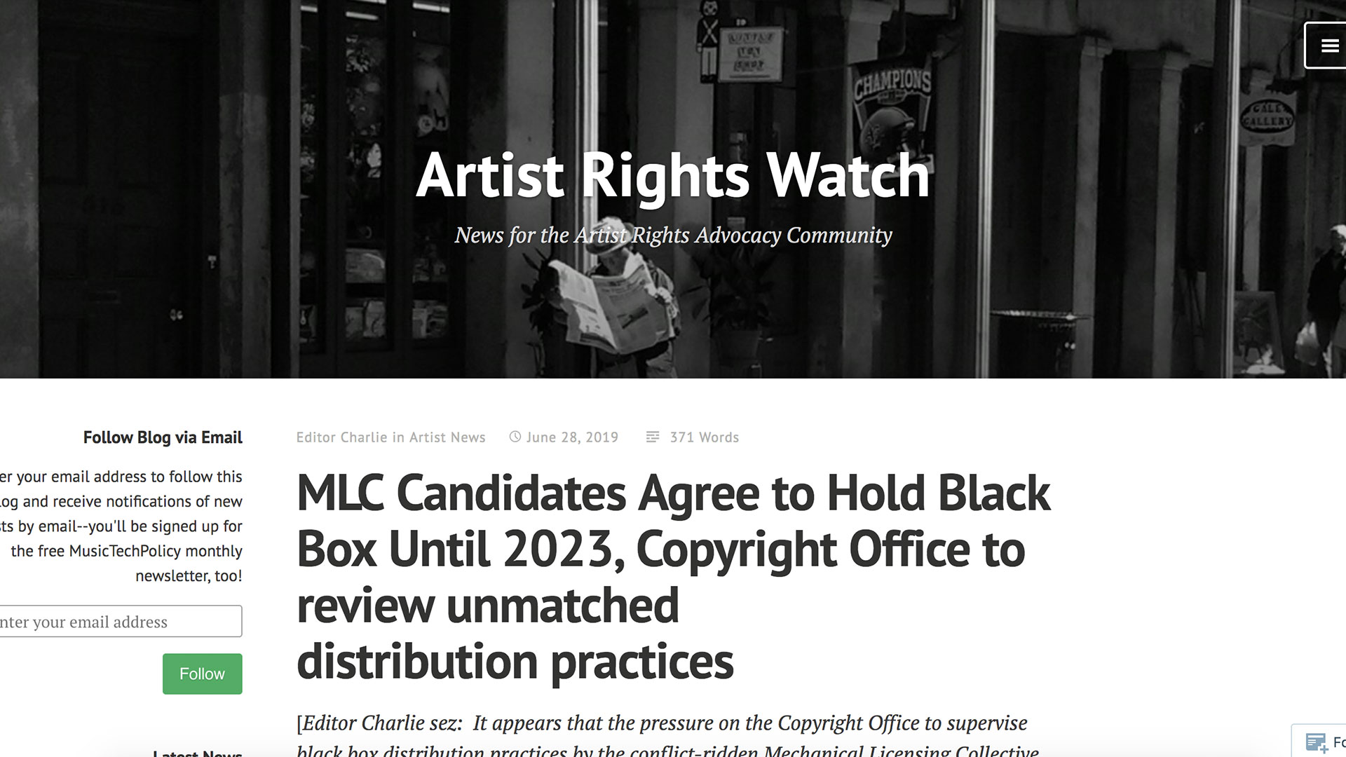 Fairness Rocks News MLC Candidates Agree to Hold Black Box Until 2023, Copyright Office to review unmatched distribution practices