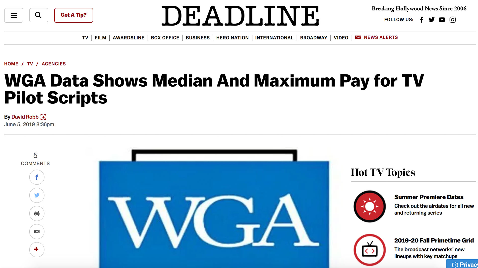 Fairness Rocks News WGA Data Shows Median And Maximum Pay for TV Pilot Scripts