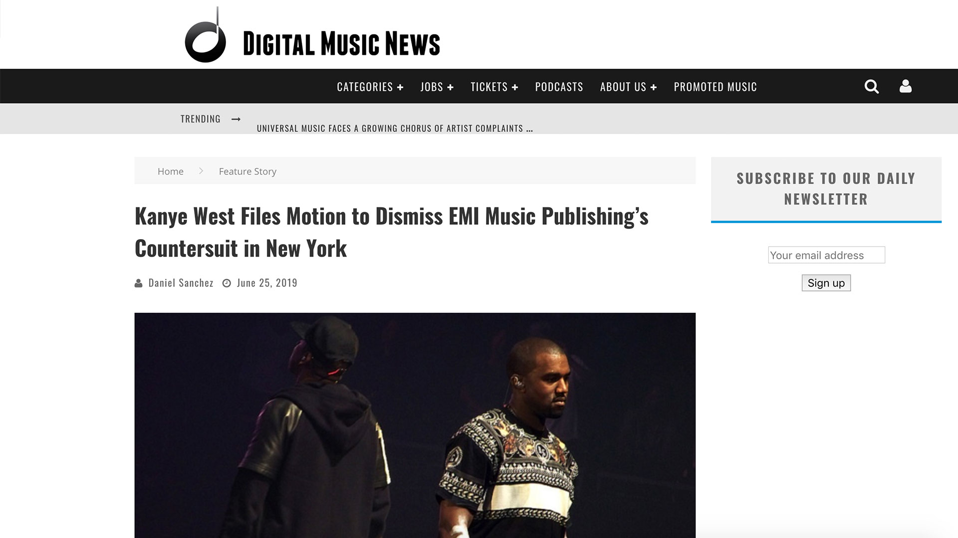 Fairness Rocks News Kanye West Files Motion to Dismiss EMI Music Publishing's Countersuit in New York