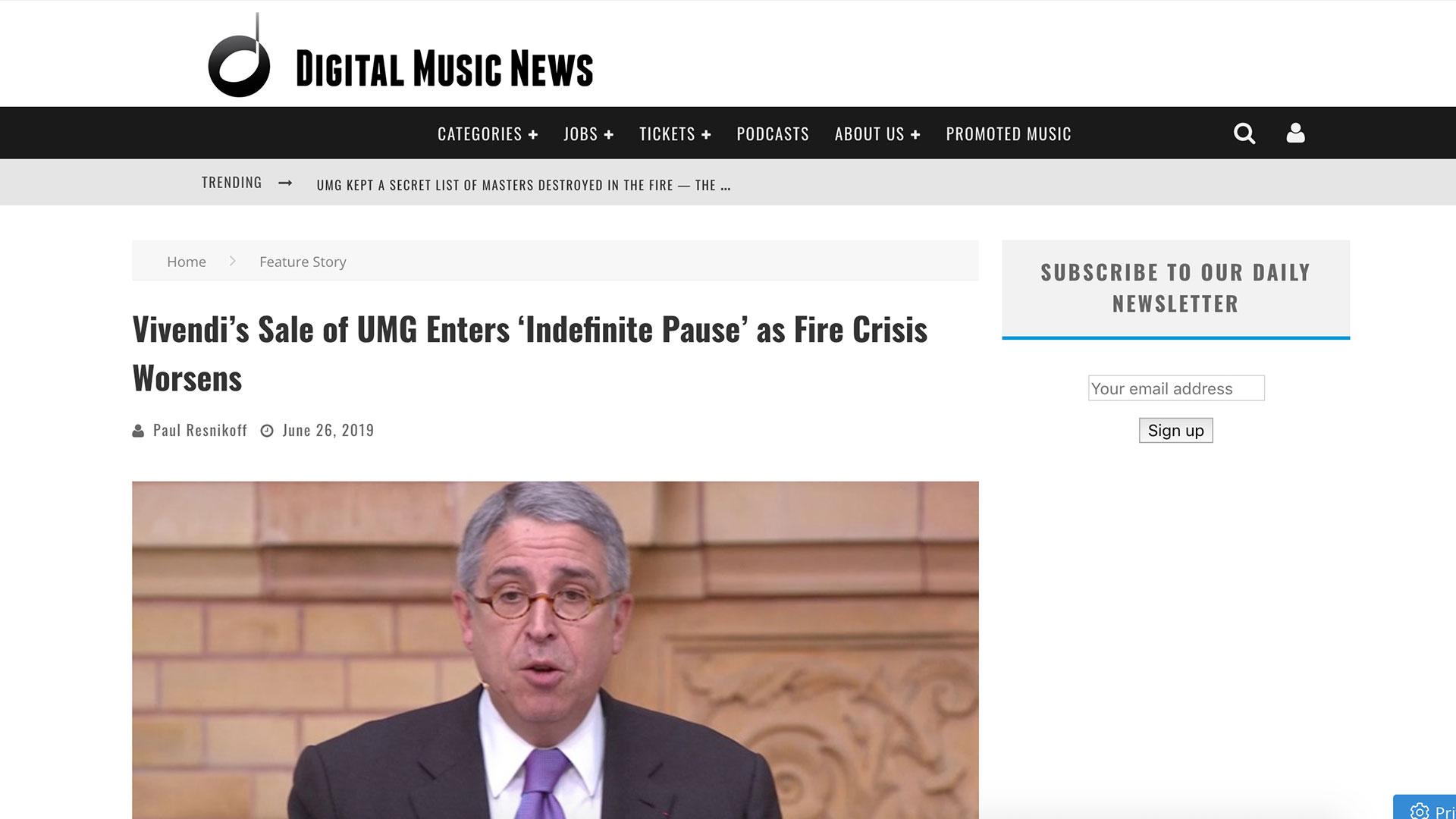 Fairness Rocks News Vivendi's Sale of UMG Enters 'Indefinite Pause' as Fire Crisis Worsens