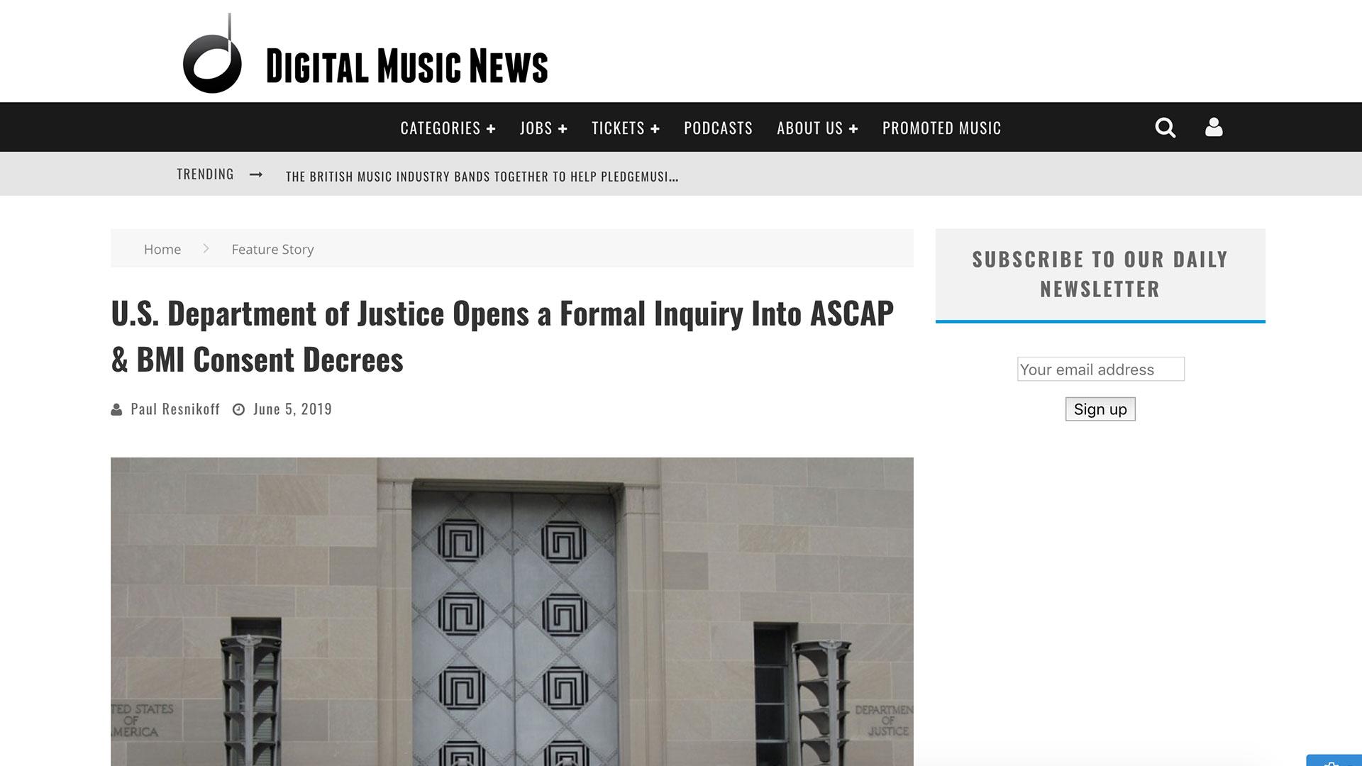 Fairness Rocks News U.S. Department of Justice Opens a Formal Inquiry Into ASCAP & BMI Consent Decrees