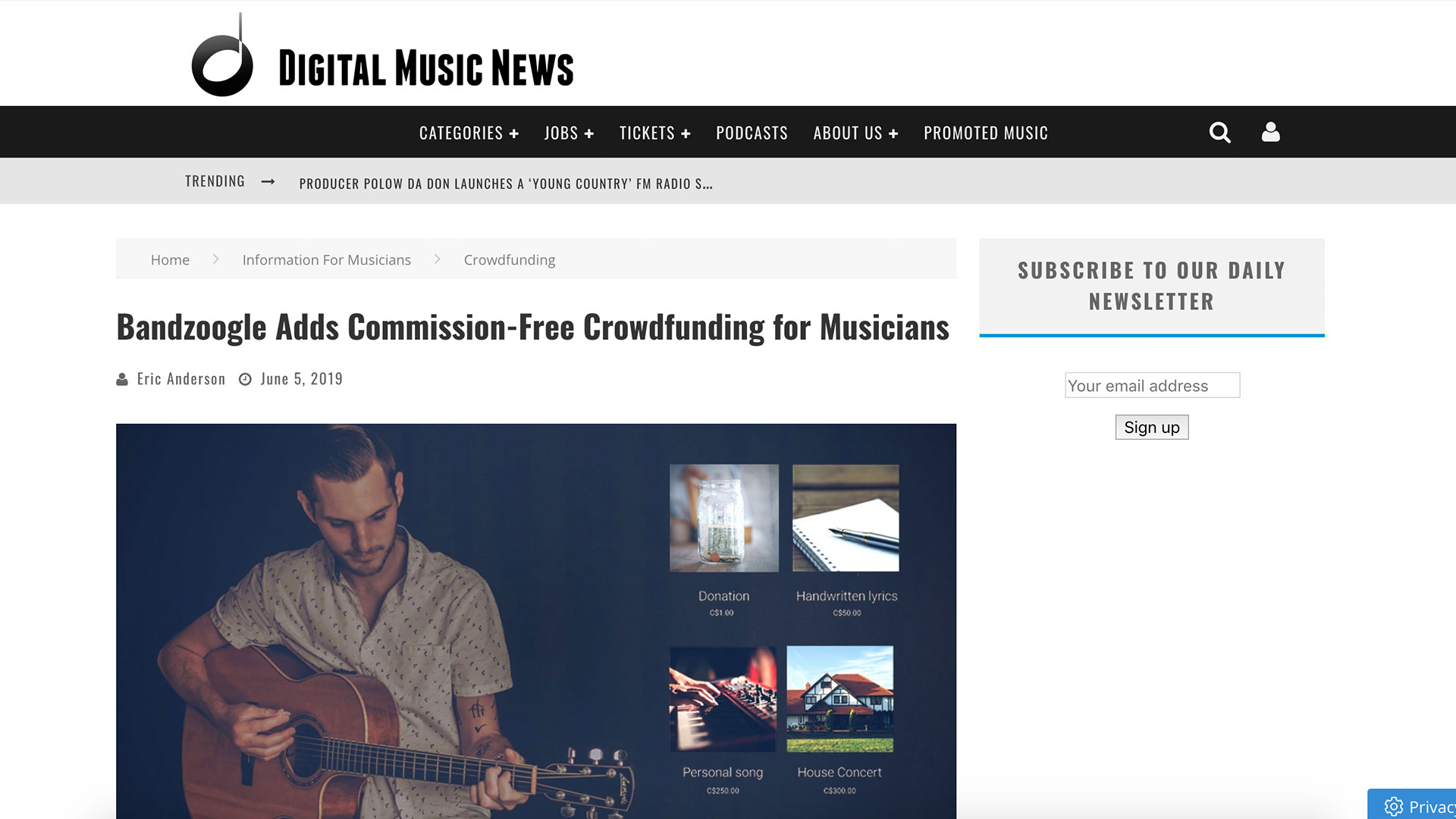 Fairness Rocks News Bandzoogle Adds Commission-Free Crowdfunding for Musicians