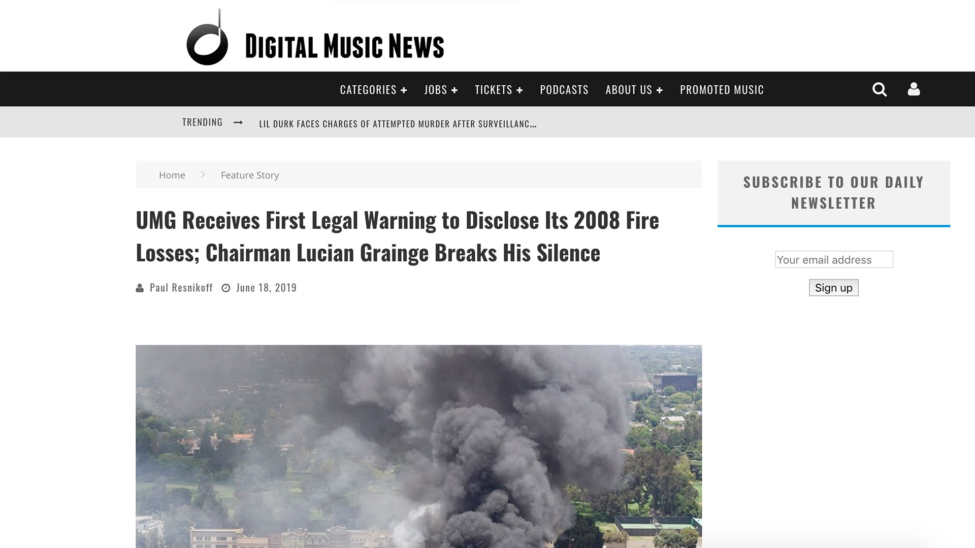Fairness Rocks News UMG Receives First Legal Warning to Disclose Its 2008 Fire Losses; Chairman Lucian Grainge Breaks His Silence