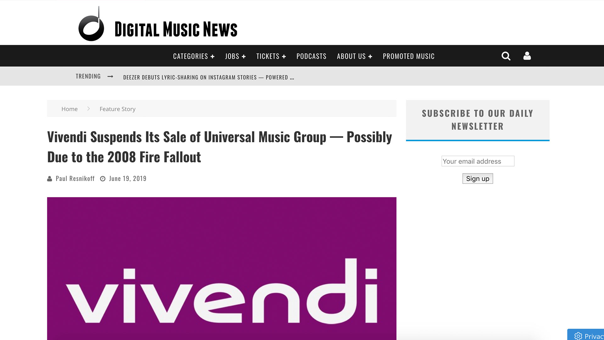 Fairness Rocks News Vivendi Suspends Its Sale of Universal Music Group — Possibly Due to the 2008 Fire Fallout