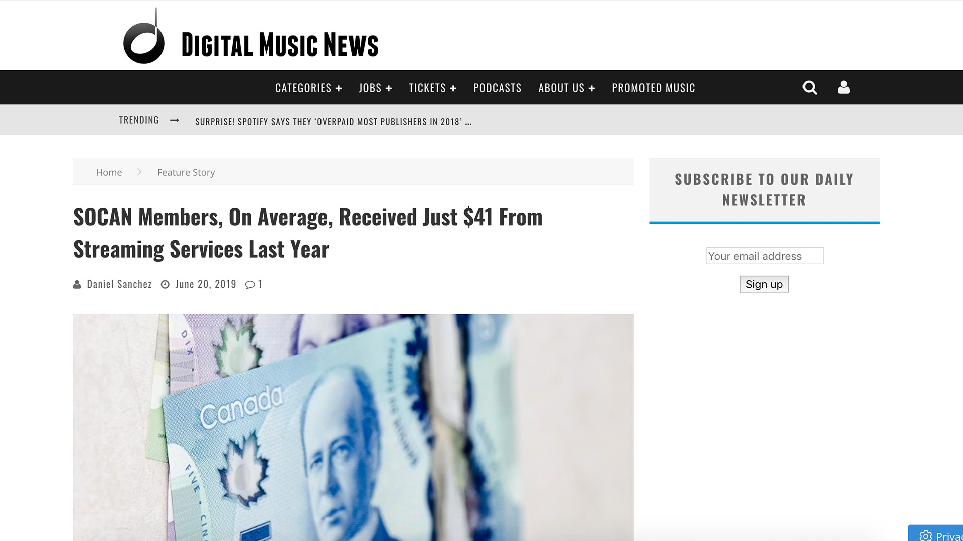 Fairness Rocks News SOCAN Members, On Average, Received Just $41 From Streaming Services Last Year