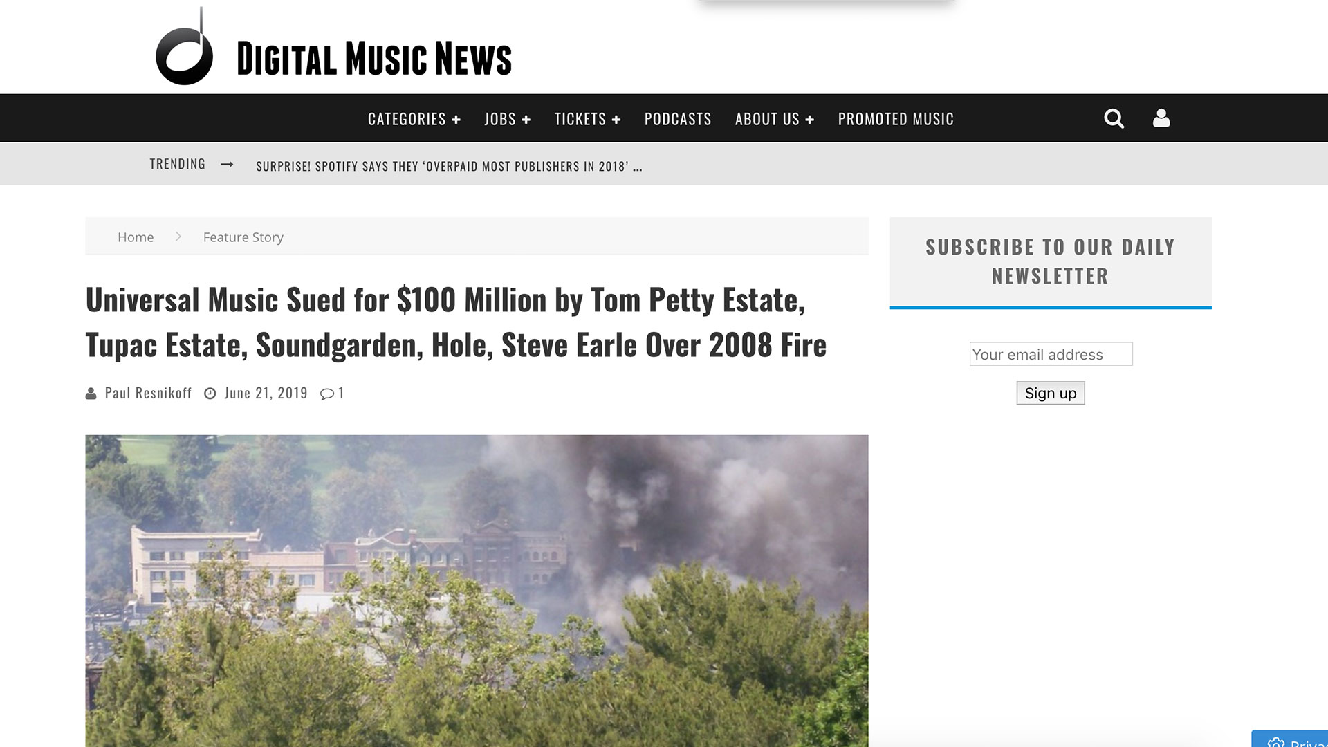 Fairness Rocks News Universal Music Sued for $100 Million by Tom Petty Estate, Tupac Estate, Soundgarden, Hole, Steve Earle Over 2008 Fire