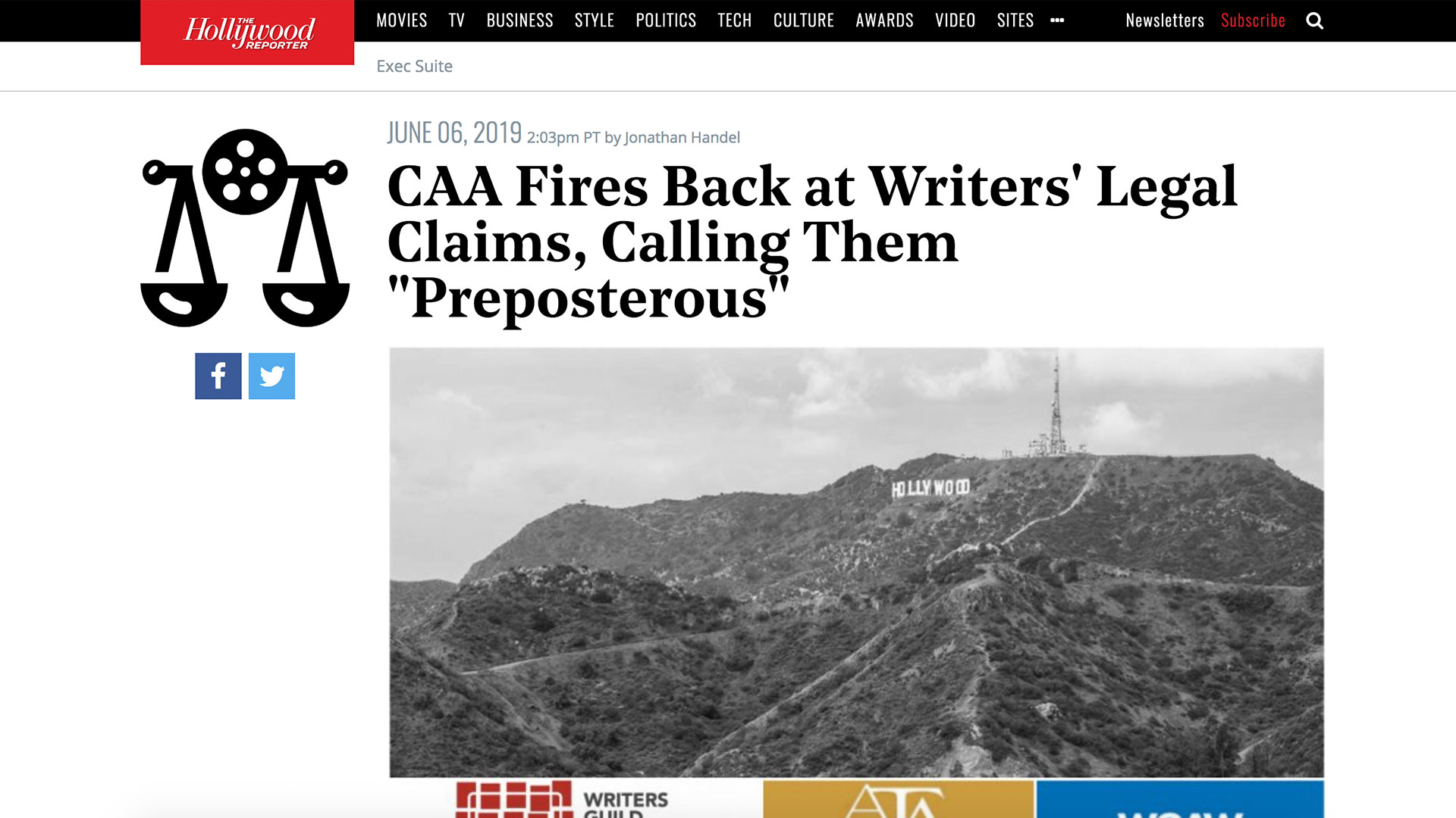 """Fairness Rocks News CAA Fires Back at Writers' Legal Claims, Calling Them """"Preposterous"""""""