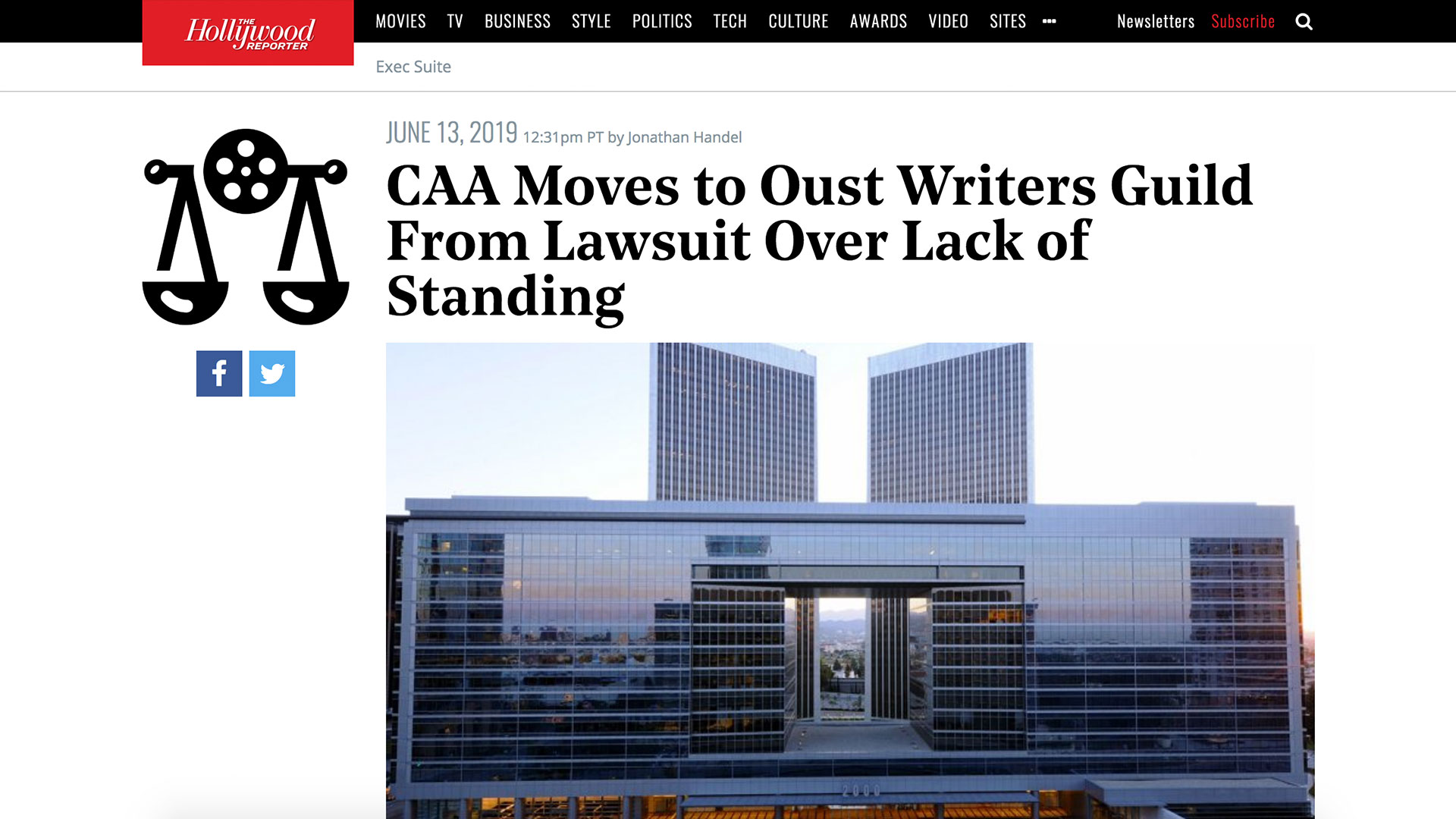 Fairness Rocks News CAA Moves to Oust Writers Guild From Lawsuit Over Lack of Standing