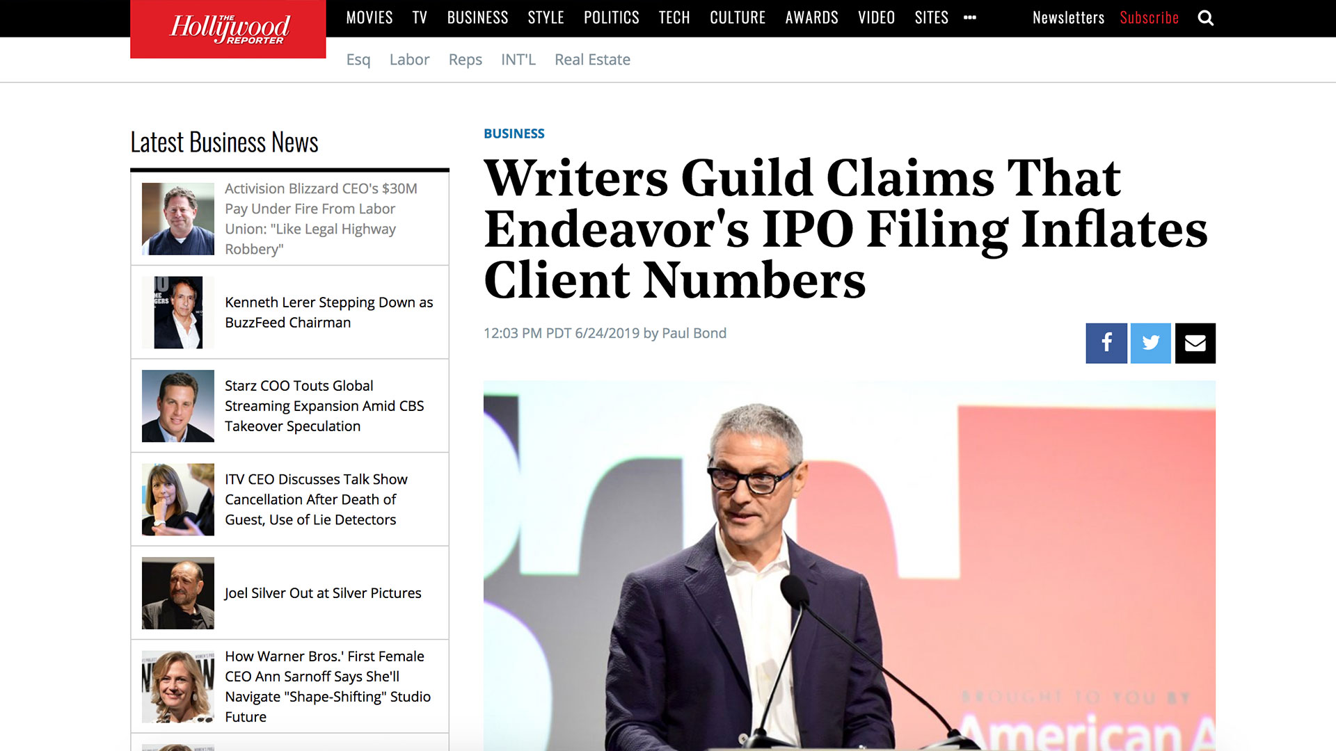 Fairness Rocks News Writers Guild Claims That Endeavor's IPO Filing Inflates Client Numbers