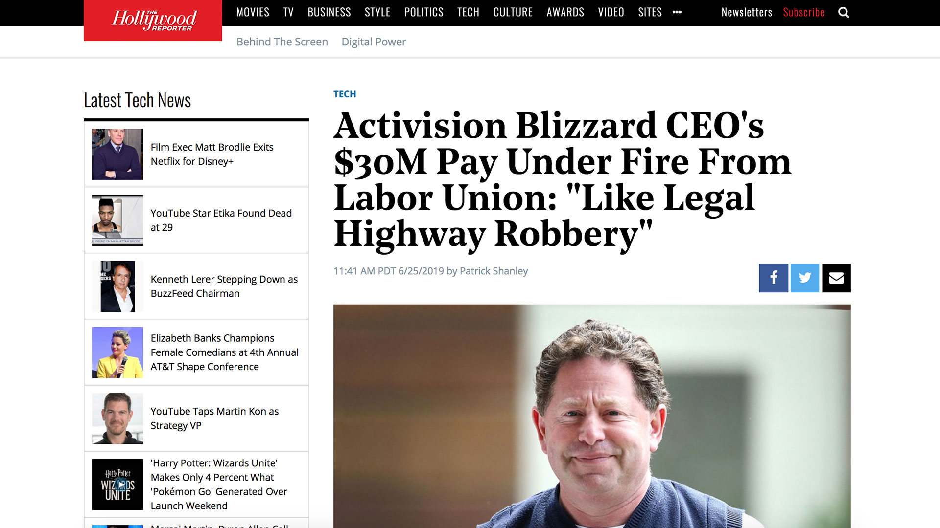 """Fairness Rocks News Activision Blizzard CEO's $30M Pay Under Fire From Labor Union: """"Like Legal Highway Robbery"""""""