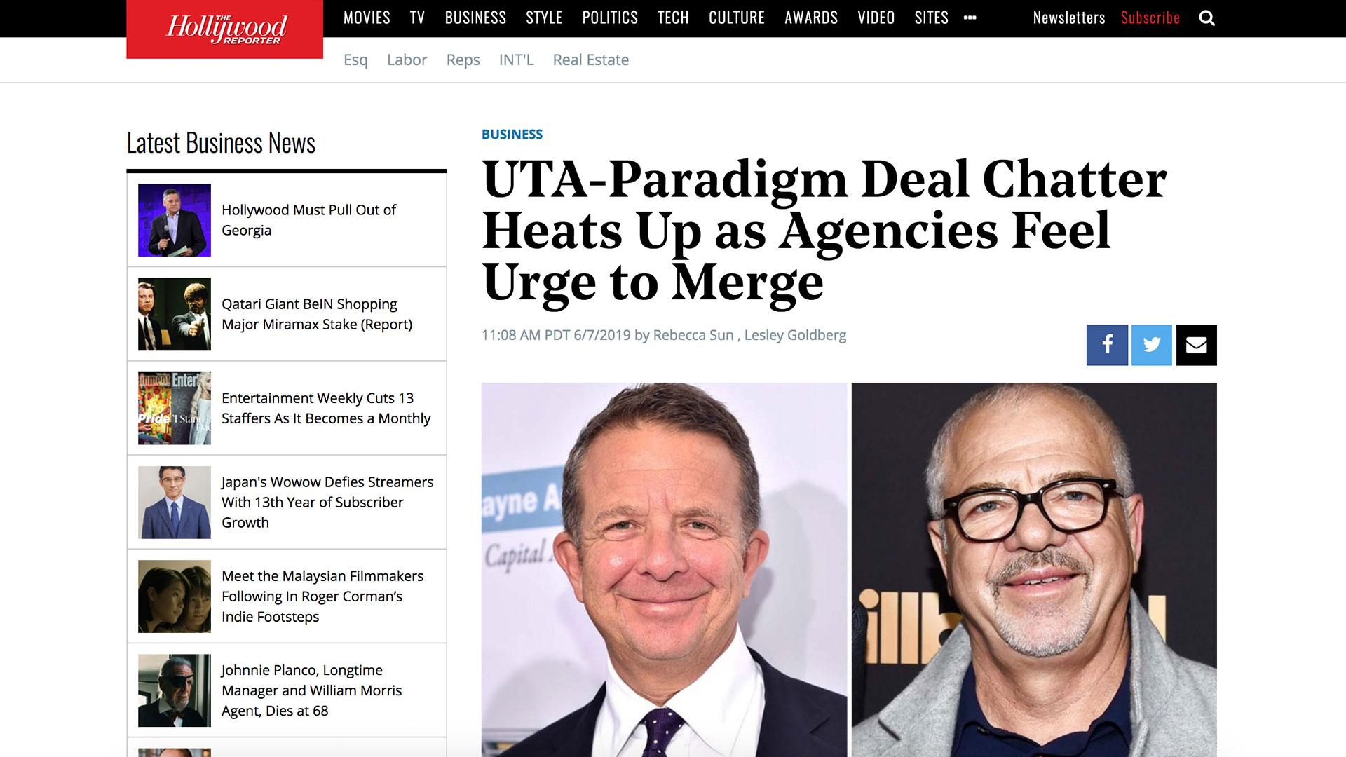 Fairness Rocks News UTA-Paradigm Deal Chatter Heats Up as Agencies Feel Urge to Merge