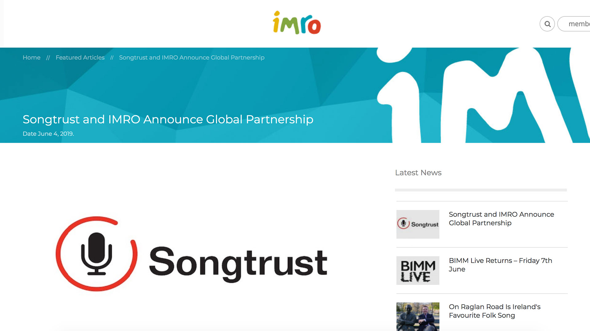 Fairness Rocks News Songtrust and IMRO Announce Global Partnership
