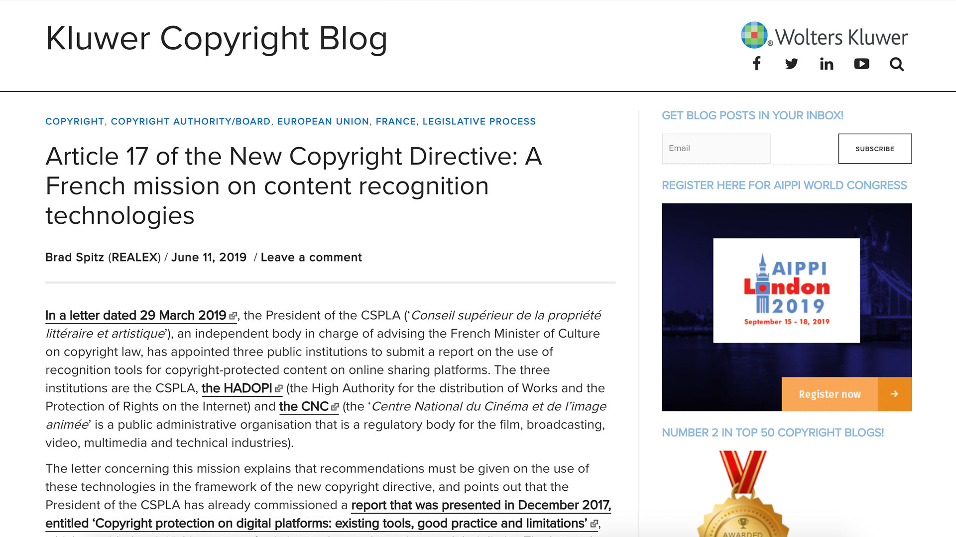 Fairness Rocks News Article 17 of the New Copyright Directive: A French mission on content recognition technologies