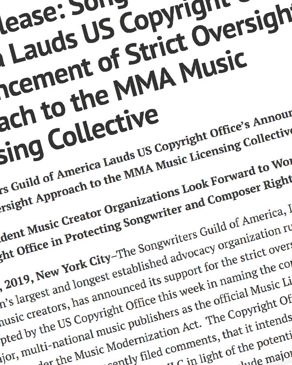 Fairness Rocks News Press Release: Songwriters Guild of America Lauds US Copyright Office's Announcement of Strict Oversight Approach to the MMA Music Licensing Collective
