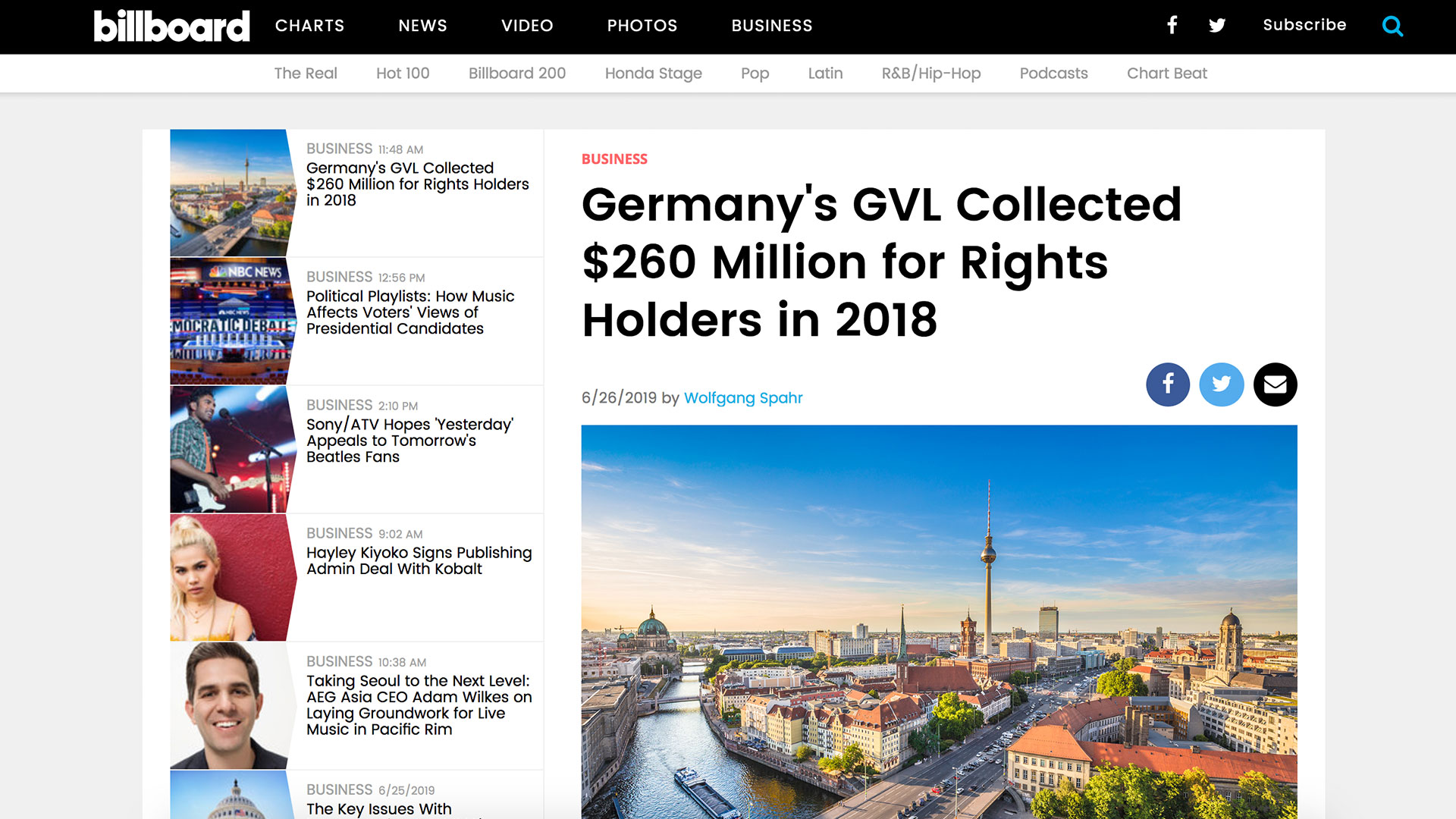 Fairness Rocks News Germany's GVL Collected $260 Million for Rights Holders in 2018