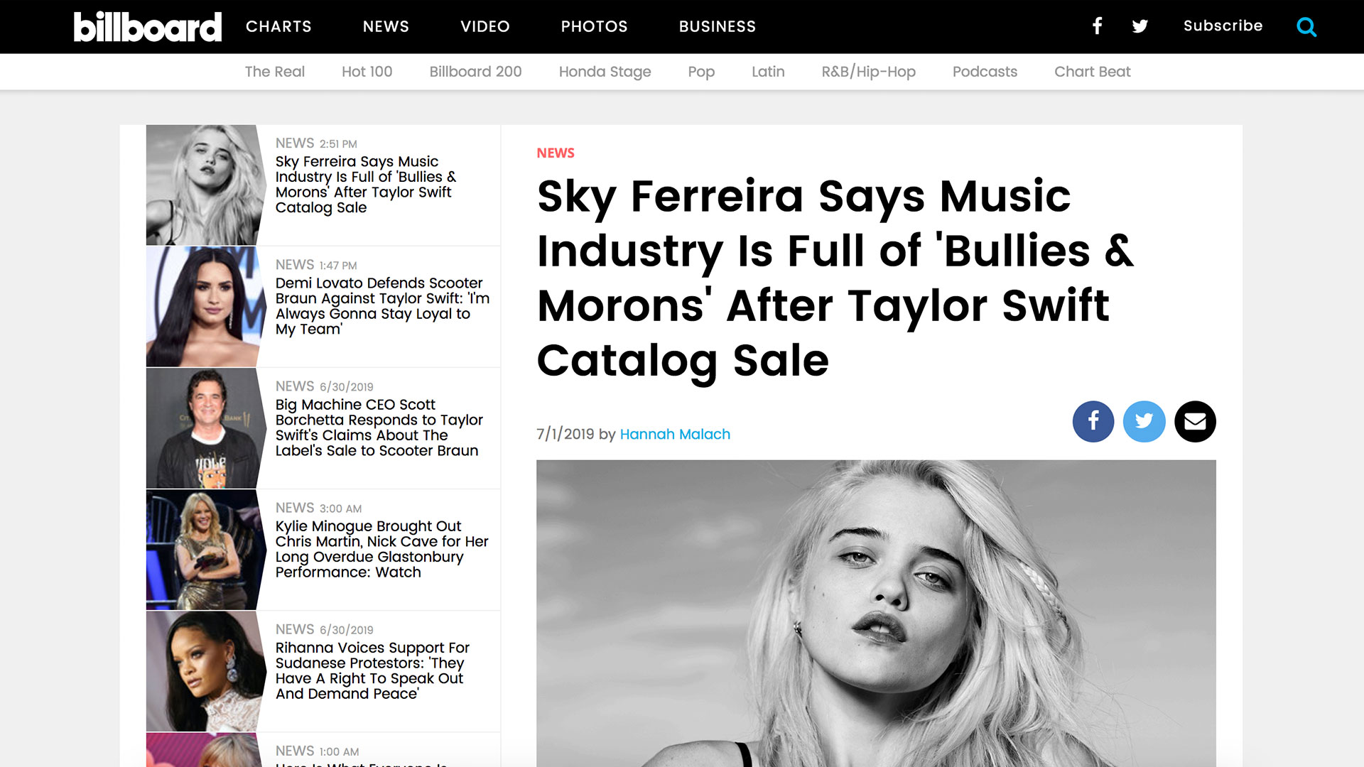 Fairness Rocks News Sky Ferreira Says Music Industry Is Full of 'Bullies & Morons' After Taylor Swift Catalog Sale
