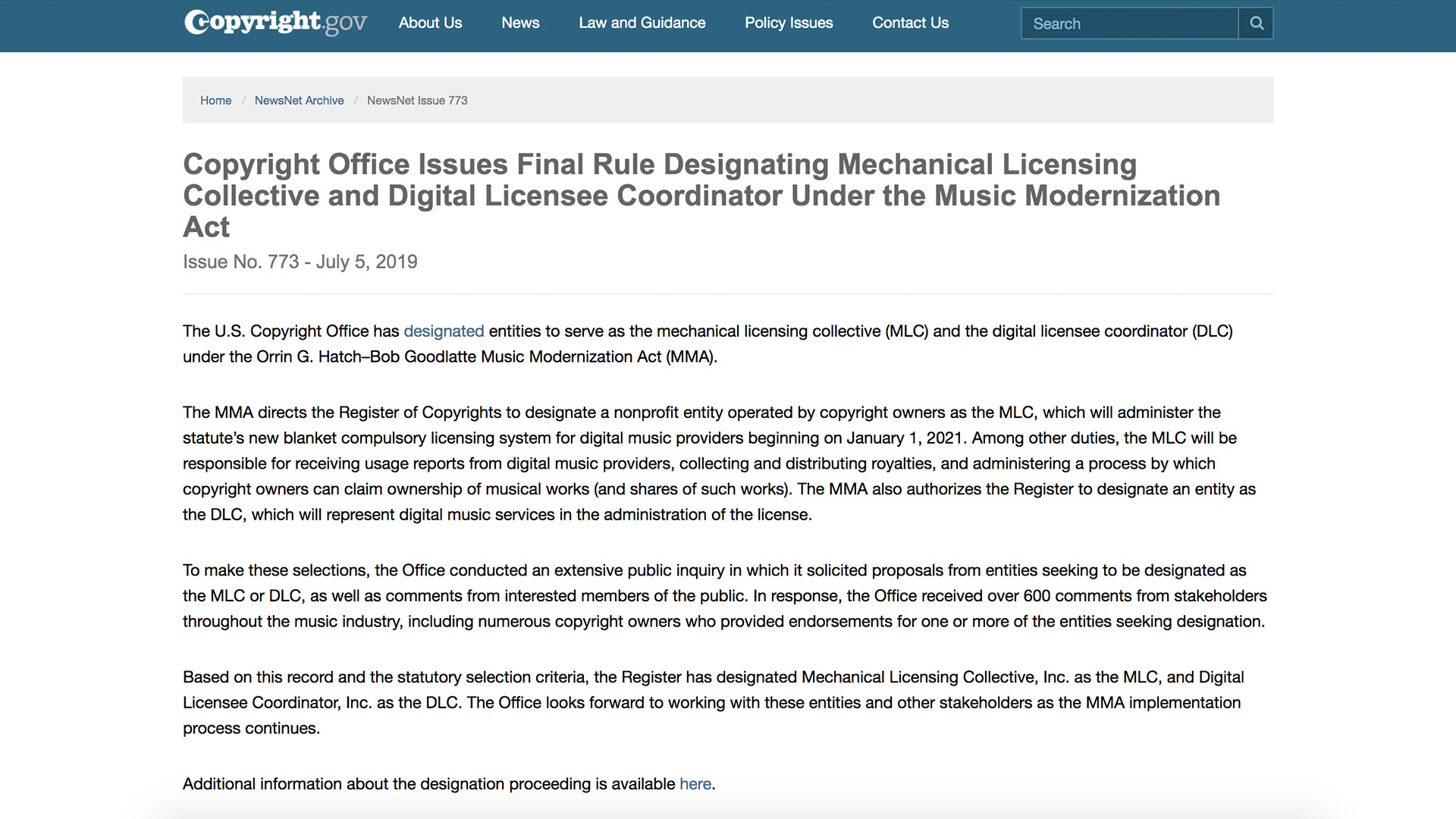 Fairness Rocks News Copyright Office Issues Final Rule Designating Mechanical Licensing Collective and Digital Licensee Coordinator Under the Music Modernization Act
