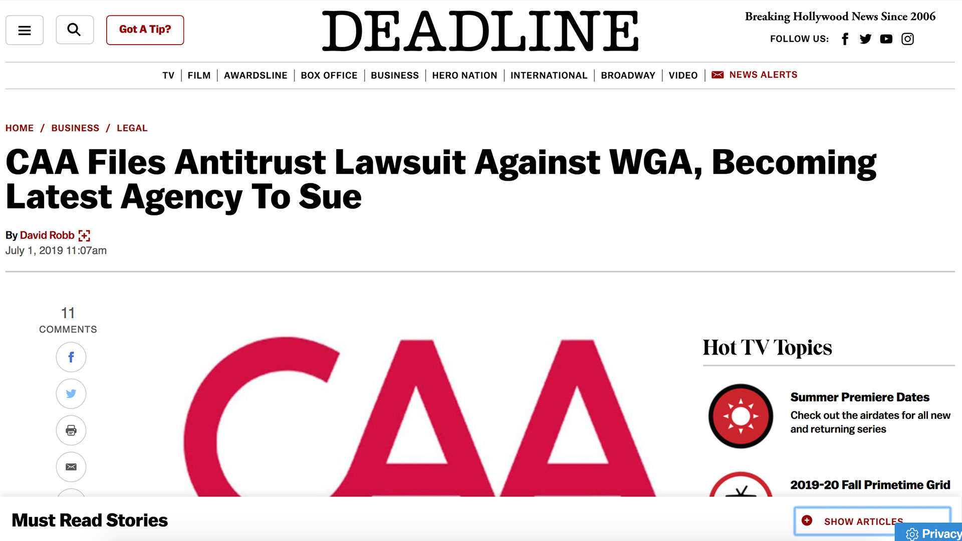 Fairness Rocks News CAA Files Antitrust Lawsuit Against WGA, Becoming Latest Agency To Sue