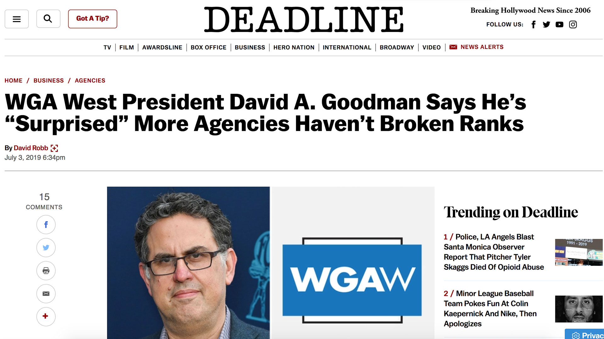 "Fairness Rocks News WGA West President David A. Goodman Says He's ""Surprised"" More Agencies Haven't Broken Ranks"