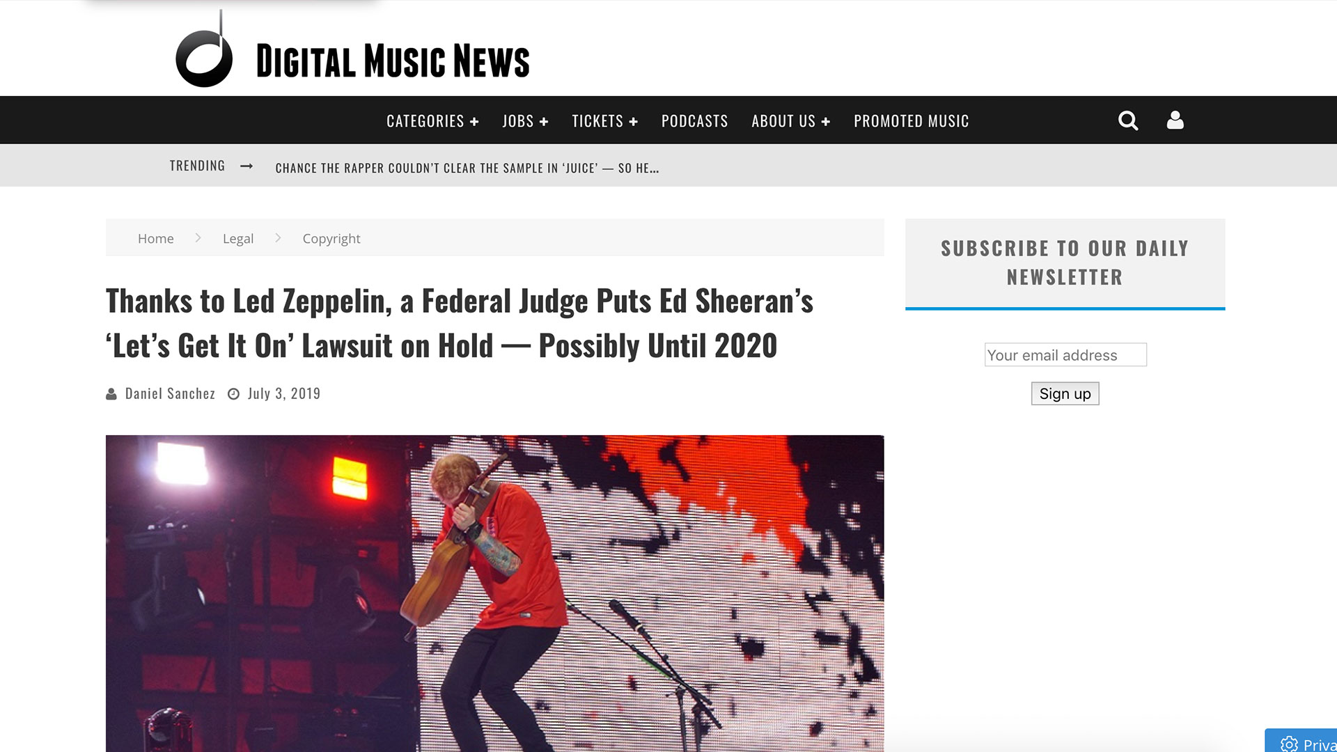 Fairness Rocks News Thanks to Led Zeppelin, a Federal Judge Puts Ed Sheeran's 'Let's Get It On' Lawsuit on Hold — Possibly Until 2020