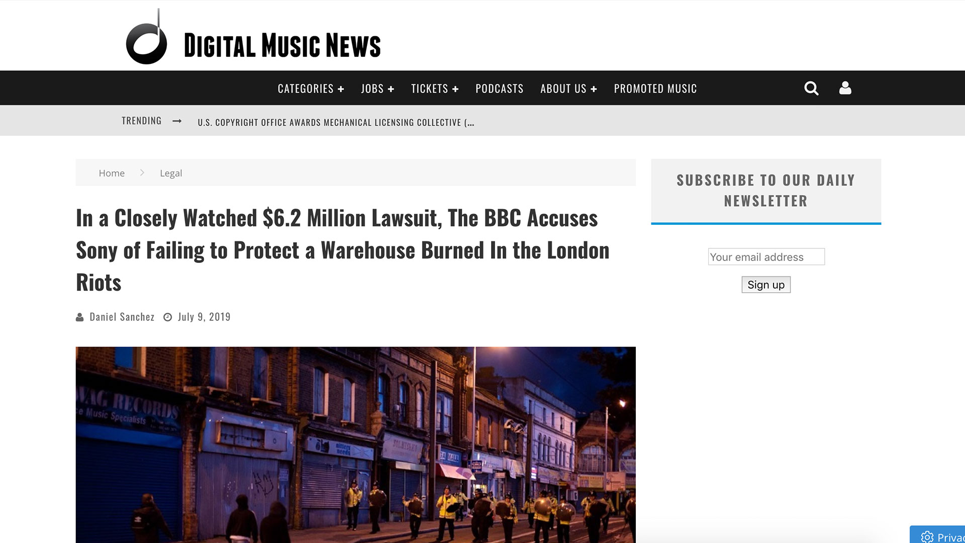 Fairness Rocks News In a Closely Watched $6.2 Million Lawsuit, The BBC Accuses Sony of Failing to Protect a Warehouse Burned In the London Riots