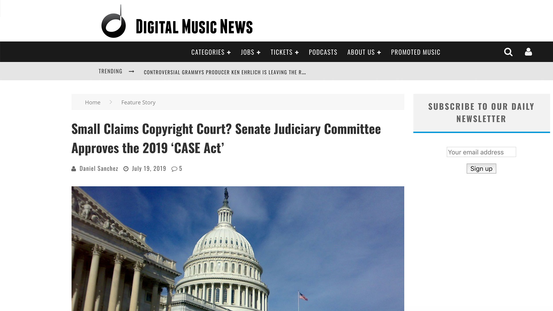Fairness Rocks News Small Claims Copyright Court? Senate Judiciary Committee Approves the 2019 'CASE Act'