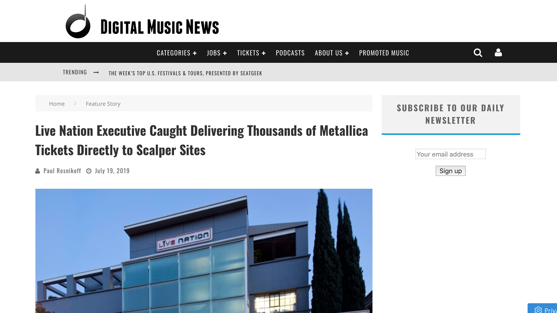 Fairness Rocks News Live Nation Executive Caught Delivering Thousands of Metallica Tickets Directly to Scalper Sites