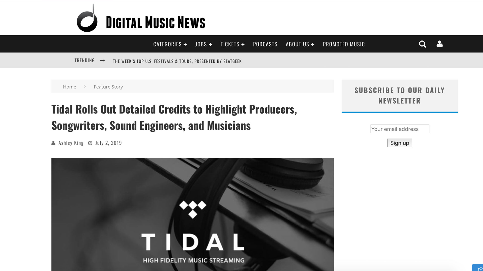 Fairness Rocks News Tidal Rolls Out Detailed Credits to Highlight Producers, Songwriters, Sound Engineers, and Musicians