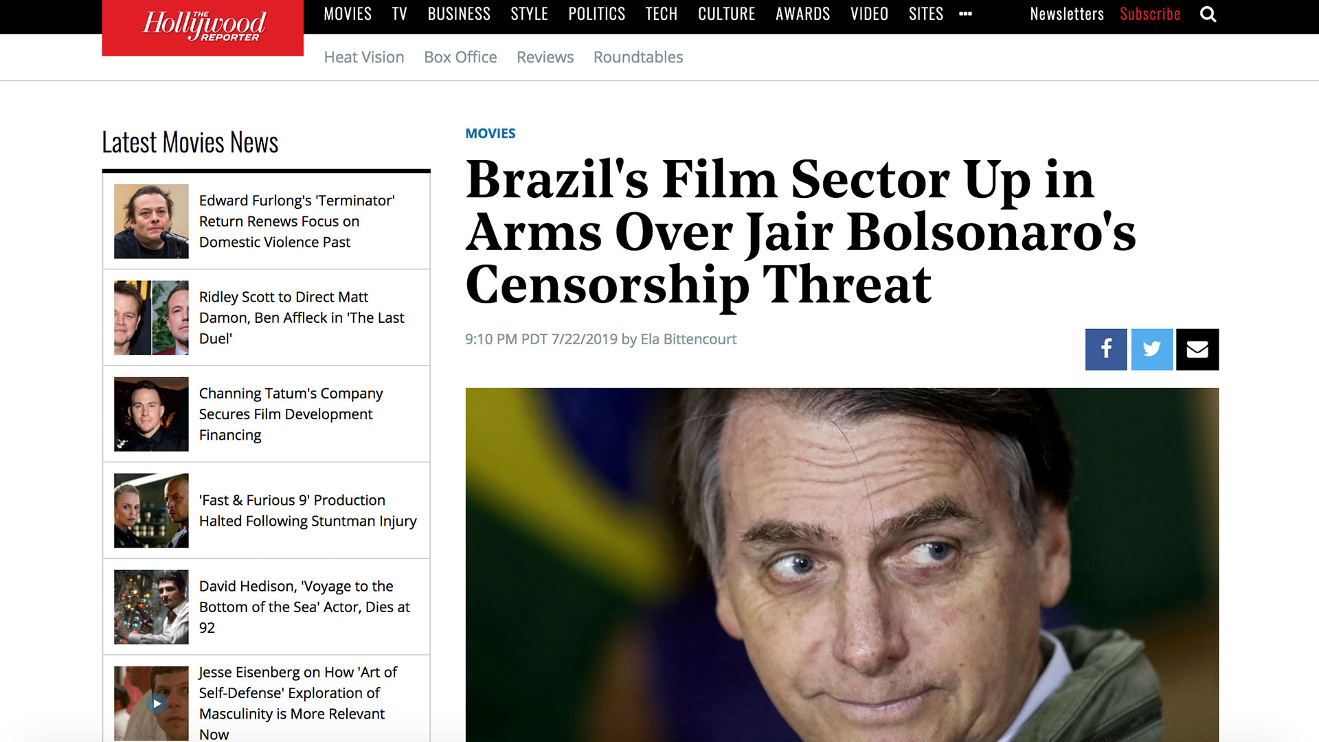 Fairness Rocks News Brazil's Film Sector Up in Arms Over Jair Bolsonaro's Censorship Threat