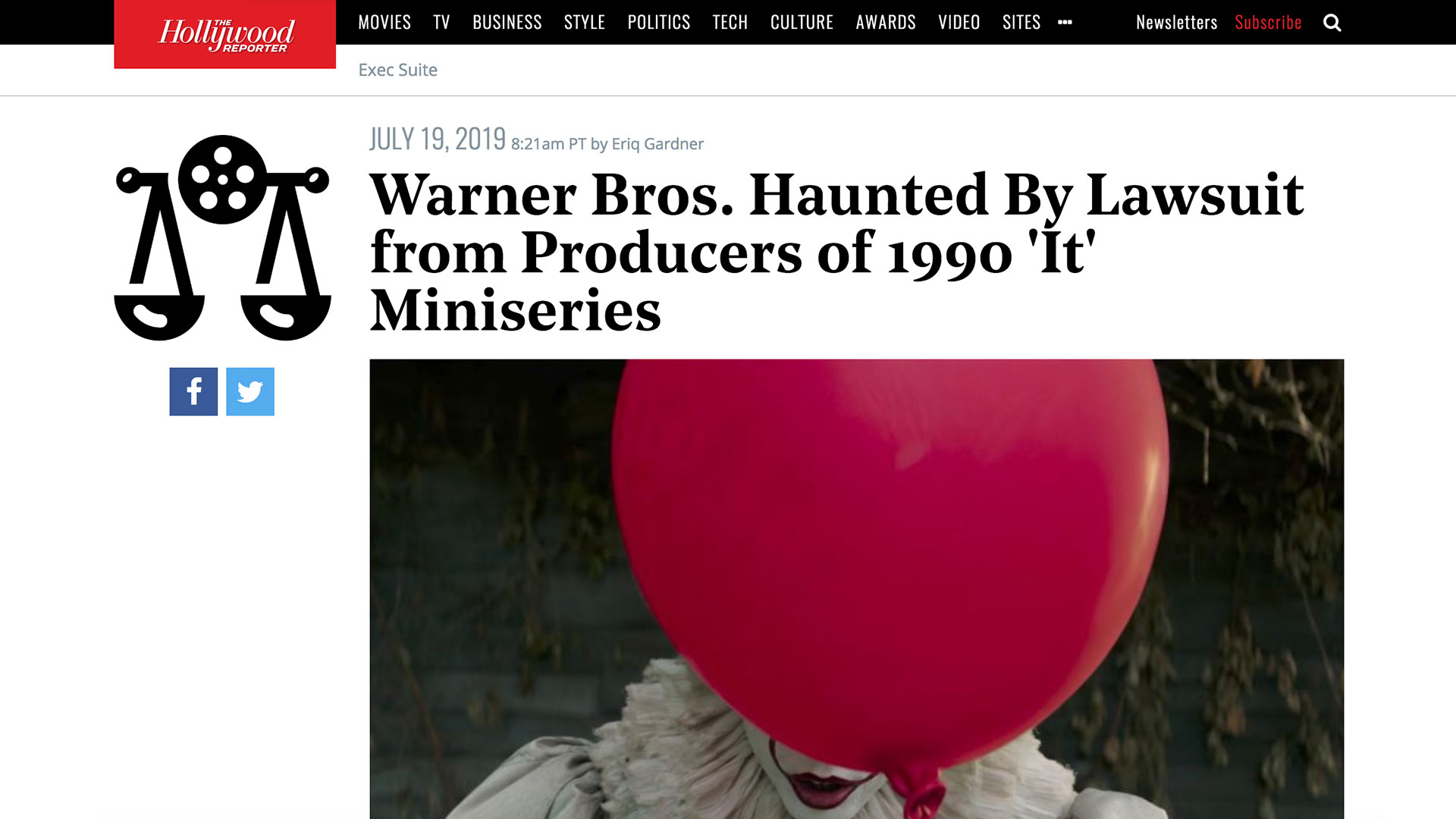 Fairness Rocks News Warner Bros. Haunted By Lawsuit from Producers of 1990 'It' Miniseries